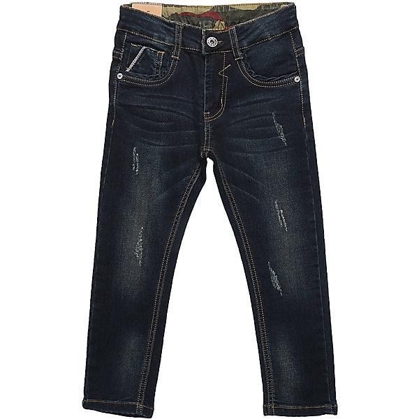 Брюки Sweet Berry для мальчикаДжинсовая одежда<br>Характеристики товара:<br><br>• цвет: синий;<br>• ткань верха: 97% хлопок, 3% спандекс;<br>• сезон: демисезон;<br>• особенности: зауженные;<br>• застежка: молния, крючок;<br>• внутренняя регулировка талиия;<br>• наличие шлевок для ремня;<br>• страна бренда: Россия;<br>• страна производства: Китай.<br><br>Модные джинсовые брюки для мальчика декорированные оригинальной варкой и потертостями. Застегиваются на молнию и пуговицу. Шлевки на поясе рассчитаны под ремень. В боковой части пояса находятся вшитые эластичные ленты, регулирующие посадку по талии. Зауженный крой, средняя посадка.<br><br>Джинсы Sweet Berry (Свит Берри) для мальчика можно купить в нашем интернет-магазине.<br>Ширина мм: 215; Глубина мм: 88; Высота мм: 191; Вес г: 336; Цвет: синий; Возраст от месяцев: 36; Возраст до месяцев: 48; Пол: Мужской; Возраст: Детский; Размер: 104,128,98,122,116,110; SKU: 7094854;