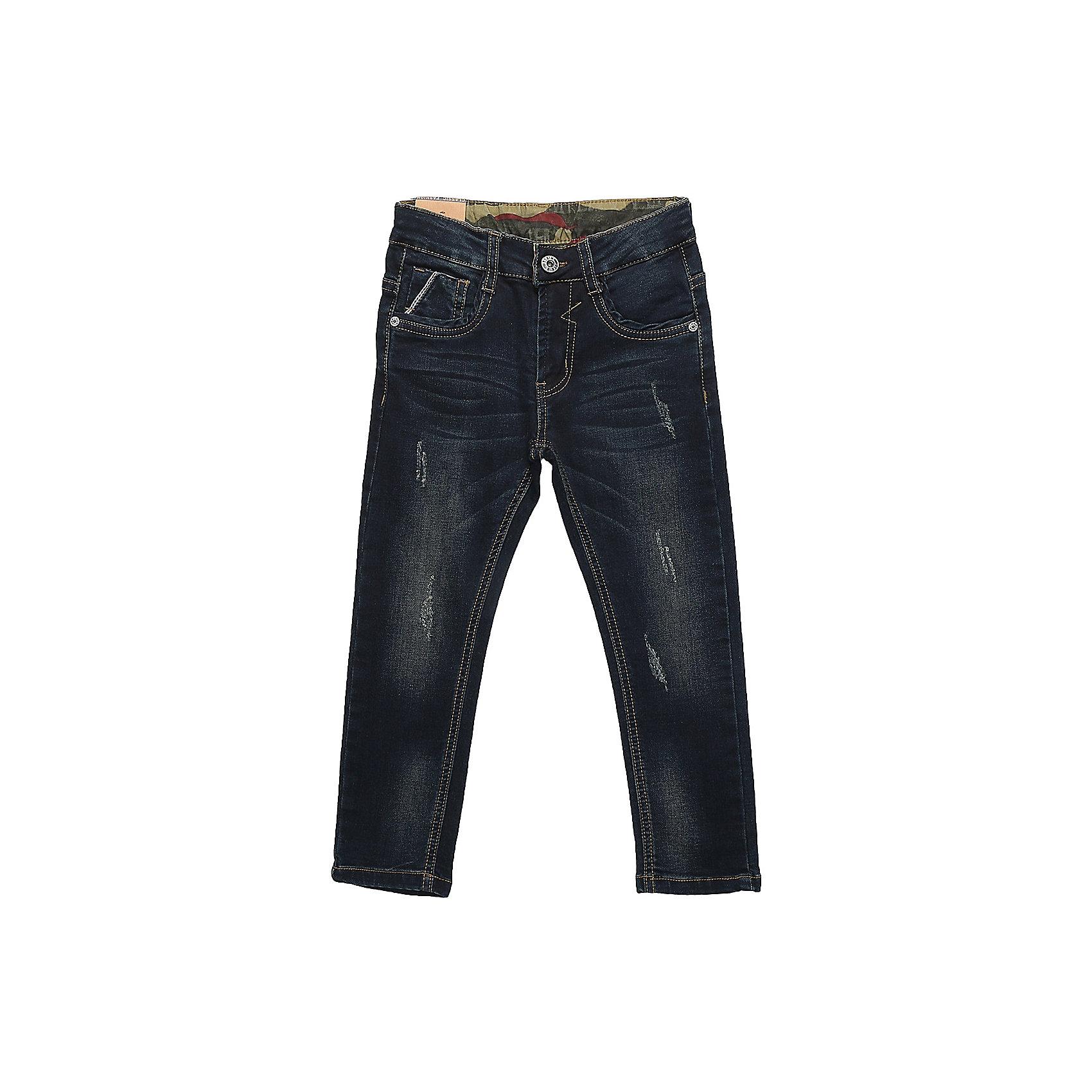 Брюки Sweet Berry для мальчикаДжинсы<br>Брюки Sweet Berry для мальчика<br>Модные джинсовые брюки для мальчика декорированные оригинальной варкой и потертостями. Застегиваются на молнию и пуговицу.  Шлевки на поясе рассчитаны под ремень. В боковой части пояса находятся вшитые эластичные ленты, регулирующие посадку по талии. Зауженный крой, средняя посадка.<br>Состав:<br>97% хлопок, 3% спандекс<br><br>Ширина мм: 215<br>Глубина мм: 88<br>Высота мм: 191<br>Вес г: 336<br>Цвет: синий<br>Возраст от месяцев: 24<br>Возраст до месяцев: 36<br>Пол: Мужской<br>Возраст: Детский<br>Размер: 98,128,122,116,110,104<br>SKU: 7094854