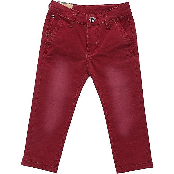 Брюки Sweet Berry для мальчикаДжинсовая одежда<br>Характеристики товара:<br><br>• цвет: бордовый;<br>• состав материала: 97% хлопок, 3% спандекс;<br>• сезон: демисезон;<br>• застежка: ширинка на молнии и пуговица;<br>• внутренняя регулировка талии;<br>• наличие шлевок для ремня;<br>• страна бренда: Россия;<br>• страна производства: Китай.<br><br>Яркие текстильные брюки для мальчика. Зауженный крой, средняя посадка. Застегиваются на молнию и пуговицу. Шлевки на поясе рассчитаны под ремень. В боковой части пояса находятся вшитые эластичные ленты, регулирующие посадку по талии.<br><br>Брюки Sweet Berry (Свит Берри) для мальчика можно купить в нашем интернет-магазине.<br>Ширина мм: 215; Глубина мм: 88; Высота мм: 191; Вес г: 336; Цвет: бордовый; Возраст от месяцев: 12; Возраст до месяцев: 15; Пол: Мужской; Возраст: Детский; Размер: 80,98,92,86; SKU: 7095624;