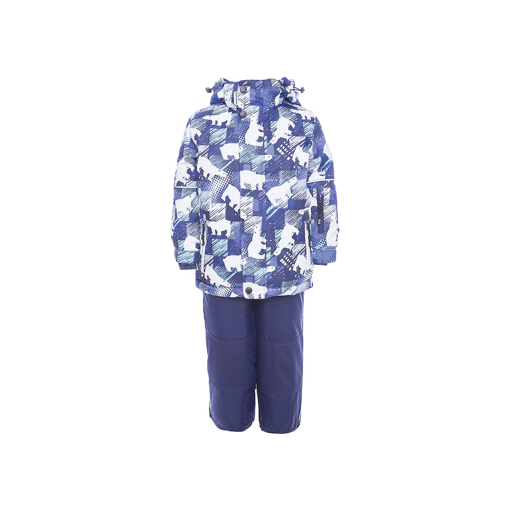 Комплект: куртка и полукомбинезон Sweet Berry для мальчикаВерхняя одежда<br>Комплект: куртка и полукомбинезон Sweet Berry для мальчика<br>Комфортный и теплый костюм  для мальчика из мембранной ткани. В конструкции учтены физиологические особенности малыша. Съемный капюшон на молниях с дополнительной утяжкой, спереди установлены две кнопки.  Рукава с манжетами, регулируются липучкой. На куртке два кармана, застегивающиеся на молнию. Застежка-молния с внешней ветрозащитной планкой. Брюки на регулируемых подтяжках гарантируют посадку по фигуре.  Колени, задняя поверхность бедер и низ брюк дополнительно усилены сверхпрочным материалом. Силиконовые отстегивающиеся штрипки на брючинах. Ткань верха: мембрана 5000мм/5000г/м2/24h, waterproof, водонепроницаемая с грязеотталкивающей пропиткой.<br>Пoдкладка: флис<br>Утеплитель: синтетический утеплитель 220 г/м? (куртка),<br>180 г/м? (рукава, п/комбинезон). Температурный режим: от -35 до +5 С<br>Состав:<br>Верх: куртка: 100%полиэстер, полукомбинезон:  100%нейлон.  Подкладка: 100%полиэстер. Наполнитель: 100%полиэстер<br><br>Ширина мм: 356<br>Глубина мм: 10<br>Высота мм: 245<br>Вес г: 519<br>Цвет: синий<br>Возраст от месяцев: 18<br>Возраст до месяцев: 24<br>Пол: Мужской<br>Возраст: Детский<br>Размер: 92,116,110,104,98<br>SKU: 7095633