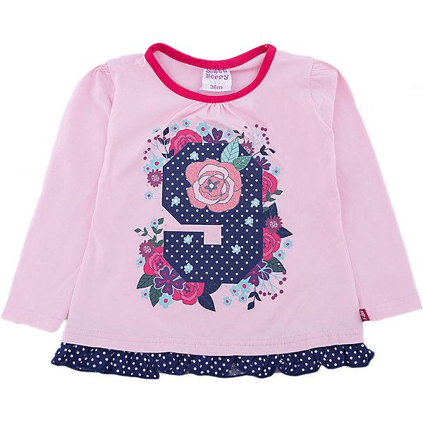 Футболка Sweet Berry для девочкиФутболки, топы<br>Футболка Sweet Berry для девочки<br>Трикотажная футболка с длинный рукавом розового цвета для девочки, декорированная ярким принтом контрастной отделкой по низу изделия. Округлый вырез горловины.<br>Состав:<br>95% хлопок, 5% эластан<br><br>Ширина мм: 199<br>Глубина мм: 10<br>Высота мм: 161<br>Вес г: 151<br>Цвет: розовый<br>Возраст от месяцев: 12<br>Возраст до месяцев: 15<br>Пол: Женский<br>Возраст: Детский<br>Размер: 80,98,92,86<br>SKU: 7095674