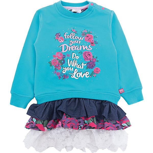Платье Sweet Berry для девочкиПлатья<br>Характеристики товара:<br><br>• цвет: голубой;<br>• состав материала: 95% хлопок, 5% эластан;<br>• сезон: демисезон;<br>• застежка: кнопки на плечевом шве;<br>• с длинным рукавом;<br>• декорировано цветочным принтом;<br>• страна бренда: Россия;<br>• страна производства: Китай.<br><br>Оригинальное трикотажное платье для девочки из мягкого хлопкового полотна декорированное цветочным принтом и разноцветными воланами по низу изделия. Застежка на плечевом шве.<br><br>Платье Sweet Berry (Свит Берри) для девочки можно купить в нашем интернет-магазине.<br>Ширина мм: 236; Глубина мм: 16; Высота мм: 184; Вес г: 177; Цвет: голубой; Возраст от месяцев: 12; Возраст до месяцев: 15; Пол: Женский; Возраст: Детский; Размер: 80,98,92,86; SKU: 7095684;