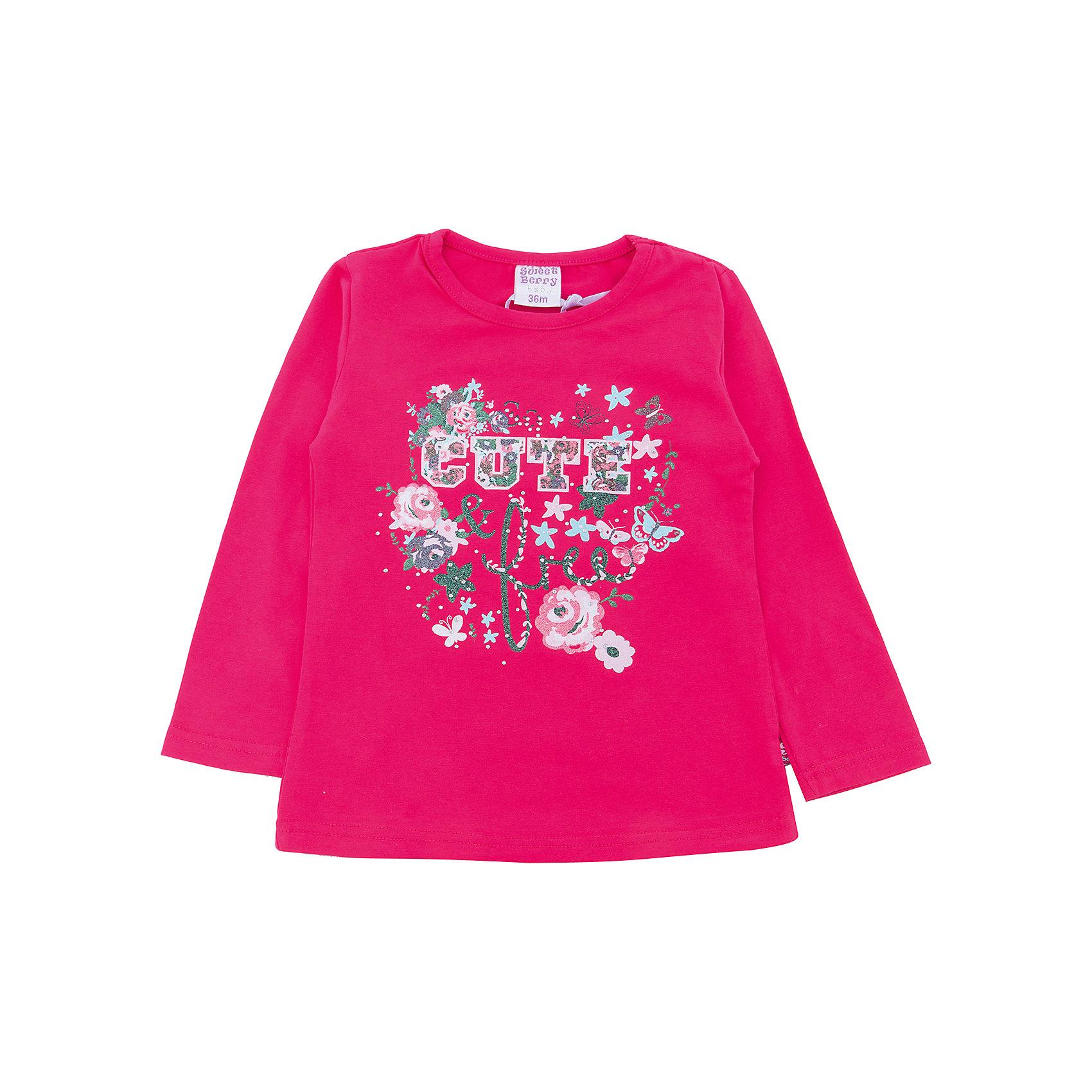 Футболка Sweet Berry для девочкиФутболки с длинным рукавом<br>Футболка Sweet Berry для девочки<br>Яркая трикотажная футболка с длинным рукавом малинового цвета для девочки, декорированное ярким принтом. Округлый вырез горловины.<br>Состав:<br>95% хлопок, 5% эластан<br><br>Ширина мм: 199<br>Глубина мм: 10<br>Высота мм: 161<br>Вес г: 151<br>Цвет: розовый<br>Возраст от месяцев: 24<br>Возраст до месяцев: 36<br>Пол: Женский<br>Возраст: Детский<br>Размер: 98,80,86,92<br>SKU: 7095694