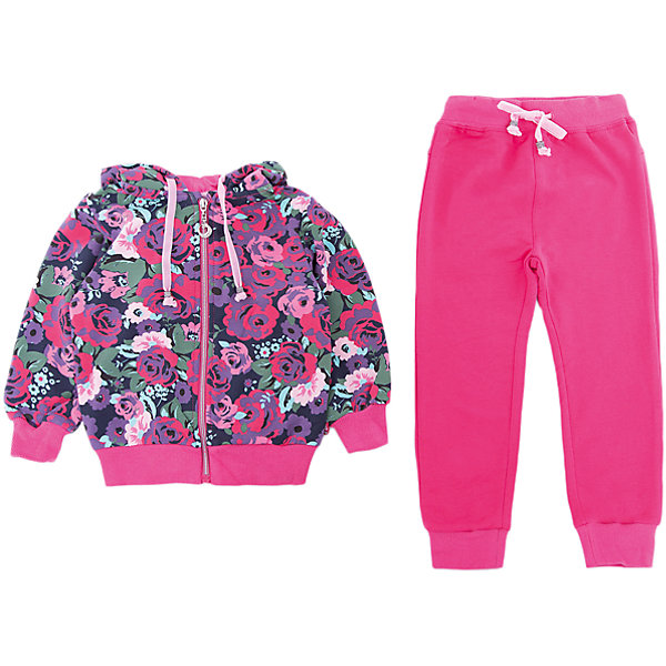 Комплект: толстовка и брюки Sweet Berry для девочкиКомплекты<br>Комплект: толстовка и брюки Sweet Berry для девочки<br>Трикотажный спортивный костюм для девочки. Куртка выполнена из принтованой ткани, застегивается на молнию. Брюки спортивного стиля с зауженным низом собранные на мягкие манжеты. Пояс-резинка дополнен шнуром для регулирования объема по талии.<br>Состав:<br>95% хлопок, 5% эластан<br><br>Ширина мм: 190<br>Глубина мм: 74<br>Высота мм: 229<br>Вес г: 236<br>Цвет: розовый<br>Возраст от месяцев: 12<br>Возраст до месяцев: 15<br>Пол: Женский<br>Возраст: Детский<br>Размер: 80,98,92,86<br>SKU: 7095719