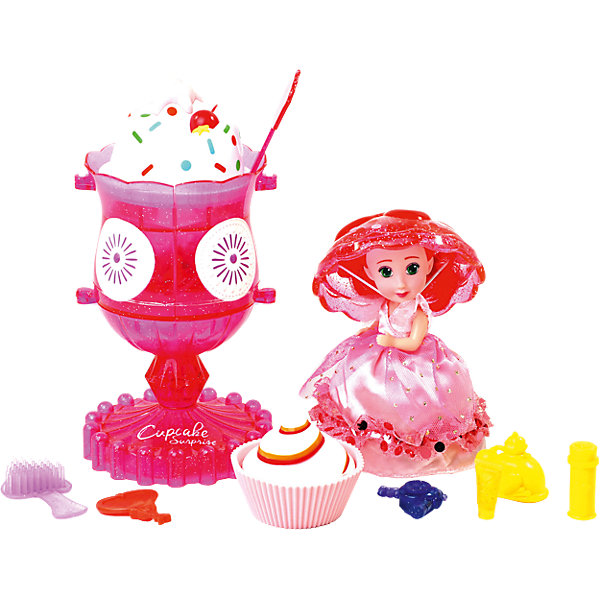 Игровой набор Cupcake Sunrise «Мороженое-туалетный столик с куклой-капкейк»Куклы<br>Характеристики товара: <br><br>• возраст: от 3 лет;<br>• материал: текстиль, силикон;<br>• в комплекте: 1 кукла-кекс, мороженое, питомец, аксессуары для красоты;<br>• размер упаковки: 25х25х18 см;<br>• вес упаковки: 685 гр.<br><br>Игровой набор Cupcake Sunrise «Мороженое-туалетный столик с куклой-капкейк» - набор, который включает в себя очаровательную куклу-кекс. Чтобы кекс превратился в куколку, нужно открыть его и вывернуть. Так как он выполнен из силикона, то легко принимает нужную форму, а крышка служит шапочкой для куклы. <br><br>В наборе также необычное мороженое, которое превращается в туалетный столик, за которым куколка сможет сделать себе прическу или макияж. Если поместить набор в воду, то он поменяет цвет.<br><br>Игровой набор Cupcake Sunrise «Мороженое-туалетный столик с куклой-капкейк» можно приобрести в нашем интернет-магазине.<br>Ширина мм: 279; Глубина мм: 274; Высота мм: 185; Вес г: 732; Возраст от месяцев: 36; Возраст до месяцев: 72; Пол: Женский; Возраст: Детский; SKU: 7096053;