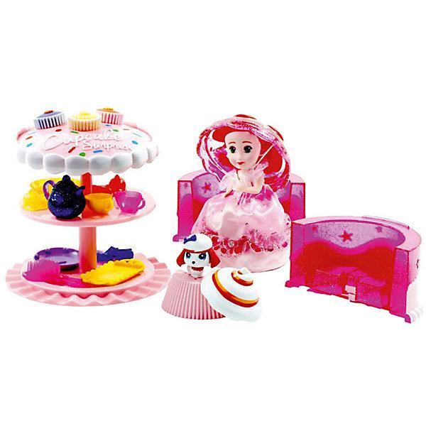 Игровой набор Cupcake Sunrise «Чайная вечеринка с куклой-капкейк и питомцем»Куклы<br>Характеристики товара: <br><br>• возраст: от 3 лет;<br>• материал: текстиль, силикон;<br>• в комплекте: 1 кукла-кекс, торт, питомец, аксессуары;<br>• размер упаковки: 25х26х17 см;<br>• вес упаковки: 920 гр.<br><br>Игровой набор Cupcake Sunrise «Чайная вечеринка с куклой-капкейк и питомцем» - набор, который включает в себя очаровательную куклу-кекс. Чтобы кекс превратился в куколку, нужно открыть его и вывернуть. Так как он выполнен из силикона, то легко принимает нужную форму, а крышка служит шапочкой для куклы. <br><br>Кукла решила устроить чайную вечеринку. С ней ее питомец — маленький песик. Она приготовила торт для чаепития, который превращается в стол для пикника. Если поместить набор в воду, то он поменяет цвет.<br><br>Игровой набор Cupcake Sunrise «Чайная вечеринка с куклой-капкейк и питомцем» можно приобрести в нашем интернет-магазине.<br>Ширина мм: 472; Глубина мм: 416; Высота мм: 73; Вес г: 251; Возраст от месяцев: 36; Возраст до месяцев: 72; Пол: Женский; Возраст: Детский; SKU: 7096055;
