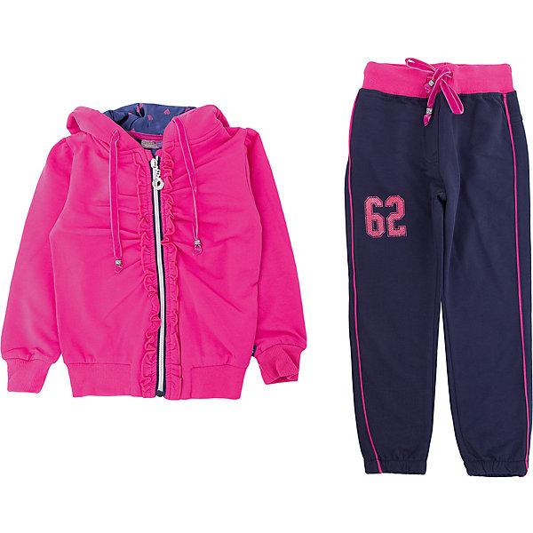 Комплект: толстовка и брюки Sweet Berry для девочкиКомплекты<br>Характеристики товара:<br><br>• цвет: фуксия<br>• комплектация: толстовка и брюки <br>• состав: 95% хлопок, 5% эластан<br>• сезон: демисезон<br>• особенности модели: спортивный стиль<br>• застежка: молния<br>• капюшон<br>• пояс: резинка, шнурок<br>• страна бренда: Россия<br>• страна производства: Китай<br><br>Спортивный костюм для ребенка сделан из натурального дышащего материала. Хлопковые брюки и толстовка для детей от Sweet Berry стильно смотрится благодаря яркой расцветке. Детский спортивный костюм поможет создать ребенку комфорт. <br><br>Комплект: толстовка и брюки Sweet Berry (Свит Берри) для девочки можно купить в нашем интернет-магазине.<br><br>Ширина мм: 356<br>Глубина мм: 10<br>Высота мм: 245<br>Вес г: 519<br>Цвет: розовый<br>Возраст от месяцев: 24<br>Возраст до месяцев: 36<br>Пол: Женский<br>Возраст: Детский<br>Размер: 98,128,122,116,110,104<br>SKU: 7096586
