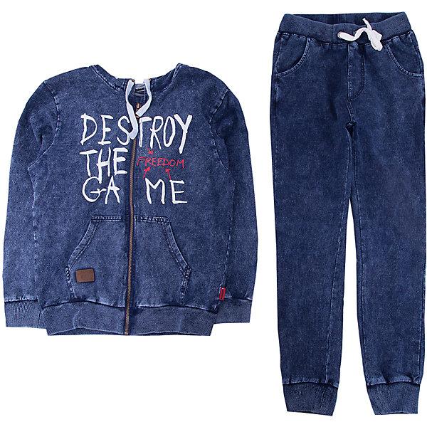 Комплект: толстовка и брюки Luminoso для мальчикаКомплекты<br>Характеристики товара:<br><br>• цвет: синий<br>• комплектация: толстовка и брюки <br>• состав: 95% хлопок, 5% эластан<br>• сезон: демисезон<br>• особенности модели: спортивный стиль<br>• застежка: молния<br>• капюшон<br>• пояс: резинка, шнурок<br>• страна бренда: Россия<br>• страна производства: Китай<br><br>Спортивный костюм для ребенка сделан из натурального дышащего материала. Хлопковые брюки и толстовка для детей от Luminoso стильно смотрится благодаря яркой расцветке. Детский спортивный костюм поможет создать ребенку комфорт. <br><br>Комплект: толстовка и брюки Luminoso (Люминозо) для мальчика можно купить в нашем интернет-магазине.<br><br>Ширина мм: 356<br>Глубина мм: 10<br>Высота мм: 245<br>Вес г: 519<br>Цвет: синий<br>Возраст от месяцев: 132<br>Возраст до месяцев: 144<br>Пол: Мужской<br>Возраст: Детский<br>Размер: 152,158,164,146,140,134<br>SKU: 7097040