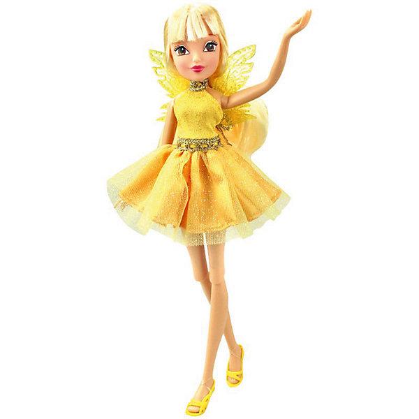 Кукла Winx Club Мода и магия-4 Стелла, 31,5 смWinx Club<br>Характеристики товара:<br><br>• возраст: от 3 лет;<br>• материал: пластик;<br>• размер упаковки: 31х6х4 см;<br>• вес: 200 гр.;<br>•высота куклы: 29 см;<br>•упаковка: коробка;<br>•страна производитель: Китай;<br>• бренд: Winx Club.<br><br>Кукла Winx Club из коллекции «Мода и магия-4» Стелла зовет на встречу приключениям каждую любительницу мультипликационного сериала Winx. Стелла одета в роскошное коктейльное золотое платье, олицетворяющее волшебную солнечную силу героини, как и золотистые крылышки за спиной. На ногах у неё - изящные желтые босоножки, которые нетрудно снимать и одевать.     <br><br>Стелла – блондинка, её длинные волосы выполнены из гладкого нейлона высокого качества и надежно прошиты. Волосы можно без проблем расчесывать и укладывать, так как они не запутываются.<br><br>Ноги и руки у куклы подвижные, их можно сгибать в суставах и придавать фее различные позы. Кукла в точности повторяет черты лица своего мультипликационного прототипа: большие глаза, аккуратный носик и пухлые губки принадлежат феям Винкс.<br><br>Куклу Winx Club «Мода и магия-4» Стелла можно купить в нашем интернет-магазине.<br>Ширина мм: 130; Глубина мм: 60; Высота мм: 315; Вес г: 225; Возраст от месяцев: 36; Возраст до месяцев: 120; Пол: Женский; Возраст: Детский; SKU: 7097664;