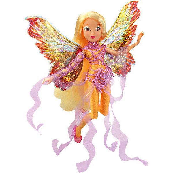 Кукла Winx Club WOW Дримикс Стелла, 36 смПопулярные игрушки<br>Характеристики товара:<br><br>• возраст: от 3 лет;<br>• материал: пластик;<br>• размер упаковки: 30х36х7 см;<br>• вес: 400 гр.;<br>•высота куклы: 29 см;<br>•упаковка: блистер;<br>•страна производитель: Китай;<br>• бренд: Winx Club.<br><br>Кукла Winx Club из коллекции «WOW Дримикс» Стелла приглашает каждую любительницу мультипликационного сериала Winx на встречу приключениям. Образ куклы в точности повторяет образ героини в новом мультсериале «Мир Винкс», где феи обитают в обычном мире и, скрывая свои способности, ищут талантливых людей в шоу под названием WOW.<br><br>Образ феи в перевоплощении Дримикс привлекает взгляд: Стелла одета в золотистый комбинезон с пластиковыми съемными вставками розового цвета. За спиной у куклы большие разноцветные крылья, которые также можно снять, а на ногах изящные туфельки.<br><br>Ноги и руки у куклы подвижные, их можно сгибать в суставах и придавать фее различные позы. Кукла в точности повторяет черты лица своего мультипликационного прототипа. У Стеллы длинные светлые волосы, которые выполнены из гладкого нейлона высокого качества и надежно прошиты. <br><br>Куклу Winx Club «WOW Дримикс» Стелла можно купить в нашем интернет-магазине.<br>Ширина мм: 300; Глубина мм: 65; Высота мм: 360; Вес г: 225; Возраст от месяцев: 36; Возраст до месяцев: 120; Пол: Женский; Возраст: Детский; SKU: 7097682;
