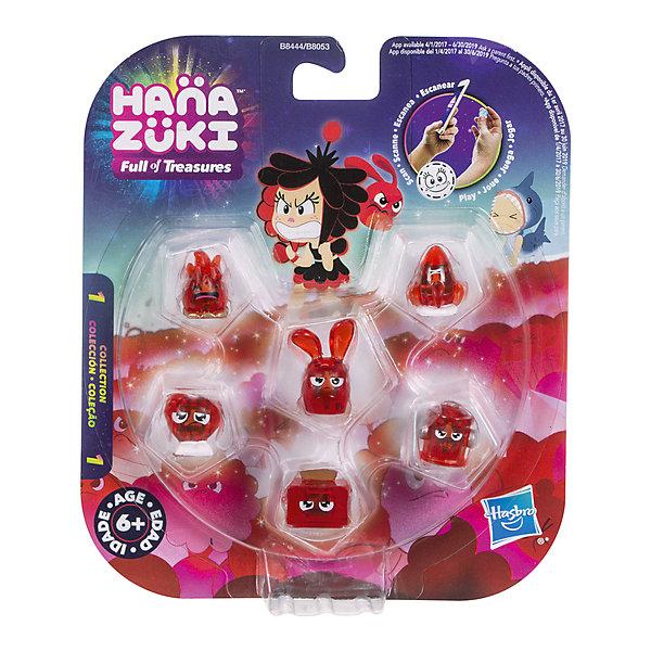 Фигурки-сокровища Hasbro Hanazuki,  6 штук (красные)Фигурки из мультфильмов<br>Характеристики товара:<br><br>• возраст: от 6 лет;<br>• материал: пластик;<br>• в комплекте: 5 фигурок сокровищ, фигурка Хемки;<br>• размер упаковки: 17,8х15,2х3,2 см;<br>• вес упаковки: 100 гр.;<br>• страна производитель: Китай.<br><br>Набор «6 красных фигурок-сокровищ» Hasbro создан по мотивам известного мультсериала про приключения Мунфлауэр Ханазуки, которая родилась на своей луне и должна спасти ее от темных сил. В наборе маленькие сокровища, которые представляют собой какой-то предмет, животное, продукт. На каждой фигурке есть свой код, который можно отсканировать в мобильном приложении и получить дополнительные игровые предметы. <br><br>Набор «6 красных фигурок-сокровищ» Hasbro можно приобрести в нашем интернет-магазине.<br><br>Ширина мм: 9999<br>Глубина мм: 9999<br>Высота мм: 9999<br>Вес г: 9999<br>Возраст от месяцев: 72<br>Возраст до месяцев: 120<br>Пол: Женский<br>Возраст: Детский<br>SKU: 7097979
