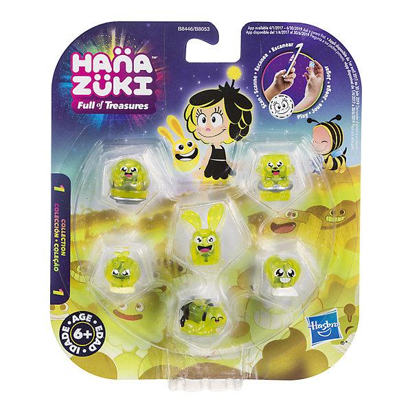 Фигурки-сокровища Hasbro Hanazuki,  6 штук (желтые)Фигурки из мультфильмов<br>Характеристики товара:<br><br>• возраст: от 6 лет;<br>• материал: пластик;<br>• в комплекте: 5 фигурок сокровищ, фигурка Хемки;<br>• размер упаковки: 17,8х15,2х3,2 см;<br>• вес упаковки: 100 гр.;<br>• страна производитель: Китай.<br><br>Набор «6 желтых фигурок-сокровищ» Hasbro создан по мотивам известного мультсериала про приключения Мунфлауэр Ханазуки, которая родилась на своей луне и должна спасти ее от темных сил. В наборе маленькие сокровища, которые представляют собой какой-то предмет, животное, продукт. На каждой фигурке есть свой код, который можно отсканировать в мобильном приложении и получить дополнительные игровые предметы. <br><br>Набор «6 желтых фигурок-сокровищ» Hasbro можно приобрести в нашем интернет-магазине.<br><br>Ширина мм: 9999<br>Глубина мм: 9999<br>Высота мм: 9999<br>Вес г: 9999<br>Возраст от месяцев: 72<br>Возраст до месяцев: 120<br>Пол: Женский<br>Возраст: Детский<br>SKU: 7097980