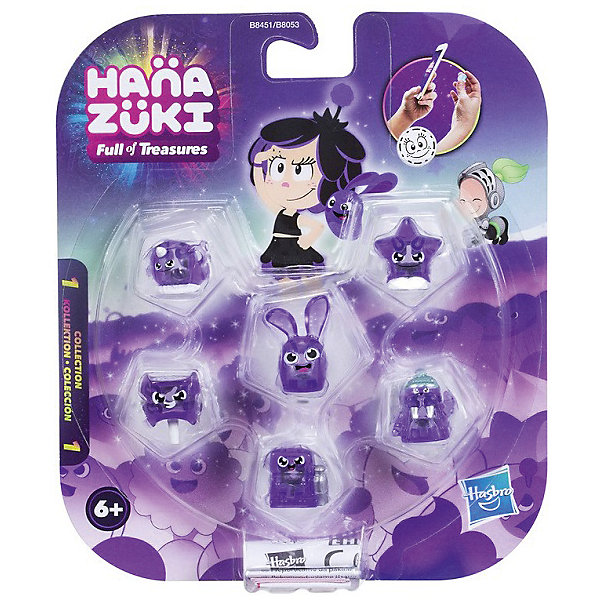 Фигурки-сокровища Hasbro Hanazuki,  6 штук (фиолетовые)Фигурки из мультфильмов<br>Характеристики товара:<br><br>• возраст: от 6 лет;<br>• материал: пластик;<br>• в комплекте: 5 фигурок сокровищ, фигурка Хемки;<br>• размер упаковки: 17,8х15,2х3,2 см;<br>• вес упаковки: 100 гр.;<br>• страна производитель: Китай.<br><br>Набор «6 фиолетовых фигурок-сокровищ» Hasbro создан по мотивам известного мультсериала про приключения Мунфлауэр Ханазуки, которая родилась на своей луне и должна спасти ее от темных сил. В наборе маленькие сокровища, которые представляют собой какой-то предмет, животное, продукт. На каждой фигурке есть свой код, который можно отсканировать в мобильном приложении и получить дополнительные игровые предметы. <br><br>Набор «6 фиолетовых фигурок-сокровищ» Hasbro можно приобрести в нашем интернет-магазине.<br><br>Ширина мм: 9999<br>Глубина мм: 9999<br>Высота мм: 9999<br>Вес г: 9999<br>Возраст от месяцев: 72<br>Возраст до месяцев: 120<br>Пол: Женский<br>Возраст: Детский<br>SKU: 7097981