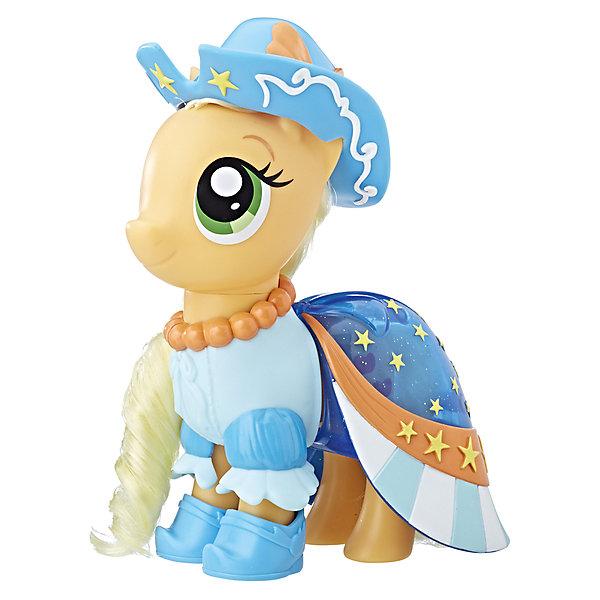Игровой набор Hasbro My Little Pony Сияние. Пони-модницы, ЭпплджекФигурки из мультфильмов<br>Характеристики товара:<br><br>• возраст: от 3 лет;<br>• материал: пластик;<br>• в комплекте: фигурка пони, аксессуары;<br>• высота фигурки: 15 см;<br>• размер упаковки: 20,3х23х7 см;<br>• вес упаковки: 400 гр.;<br>• страна производитель: Китай.<br><br>Игровой набор «Пони-модницы: Сияние» Hasbro создан по мотивам известного мультсериала про разноцветных маленьких пони. У пони съемные элементы одежды. А дополнительный комплект поможет создавать пони каждый раз новый образ. Игрушка выполнена из качественного безопасного пластика.<br><br>Игровой набор «Пони-модницы: Сияние» Hasbro можно приобрести в нашем интернет-магазине.<br>Ширина мм: 9999; Глубина мм: 9999; Высота мм: 9999; Вес г: 9999; Возраст от месяцев: 36; Возраст до месяцев: 120; Пол: Женский; Возраст: Детский; SKU: 7097988;