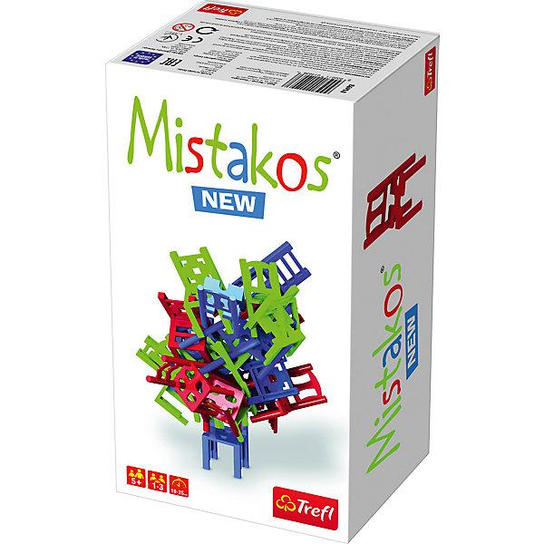 Настольная игра Mistakos New, TreflНастольные игры для всей семьи<br>Настольная игра Trefl Mistakos 01493 – необычная развивающая игра для детей от 5 лет. Она поможет малышам развивать логическое мышление  и стратегические способности. В нее так весело играть вместе со своими маленькими друзьями или родственниками. Игра Мистакос от польской компании Трефл подарит много положительных эмоций не только детям, но и их родителям. @#<br>В комплект входит инструкция к игре и 24 игрушечных стула разных цветов: 8 красных, 8 синих, 8 салатовых. Игроки по очереди ставят стулья друг на друга, сооружая при этом башенку. Побеждает тот игрок, который полностью избавится от своей мебели, не разрушив при этом башенку. @#<br>Количество участников: от 1 до 3. @#<br>Средняя продолжительность партии: 10-25 минут.<br>Ширина мм: 260; Глубина мм: 140; Высота мм: 100; Вес г: 400; Возраст от месяцев: 72; Возраст до месяцев: 2147483647; Пол: Унисекс; Возраст: Детский; SKU: 7100036;