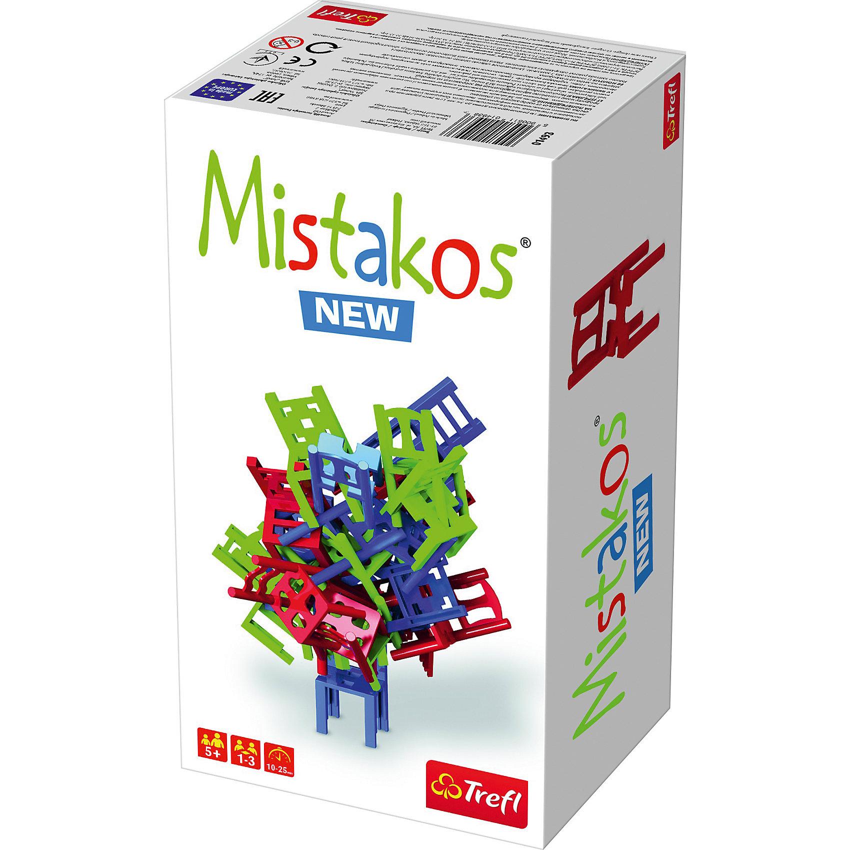 Настольная игра Mistakos New, TreflНастольные игры для всей семьи<br>Настольная игра Trefl Mistakos 01493 – необычная развивающая игра для детей от 5 лет. Она поможет малышам развивать логическое мышление  и стратегические способности. В нее так весело играть вместе со своими маленькими друзьями или родственниками. Игра Мистакос от польской компании Трефл подарит много положительных эмоций не только детям, но и их родителям. @#<br>В комплект входит инструкция к игре и 24 игрушечных стула разных цветов: 8 красных, 8 синих, 8 салатовых. Игроки по очереди ставят стулья друг на друга, сооружая при этом башенку. Побеждает тот игрок, который полностью избавится от своей мебели, не разрушив при этом башенку. @#<br>Количество участников: от 1 до 3. @#<br>Средняя продолжительность партии: 10-25 минут.<br><br>Ширина мм: 260<br>Глубина мм: 140<br>Высота мм: 100<br>Вес г: 400<br>Возраст от месяцев: 72<br>Возраст до месяцев: 2147483647<br>Пол: Унисекс<br>Возраст: Детский<br>SKU: 7100036