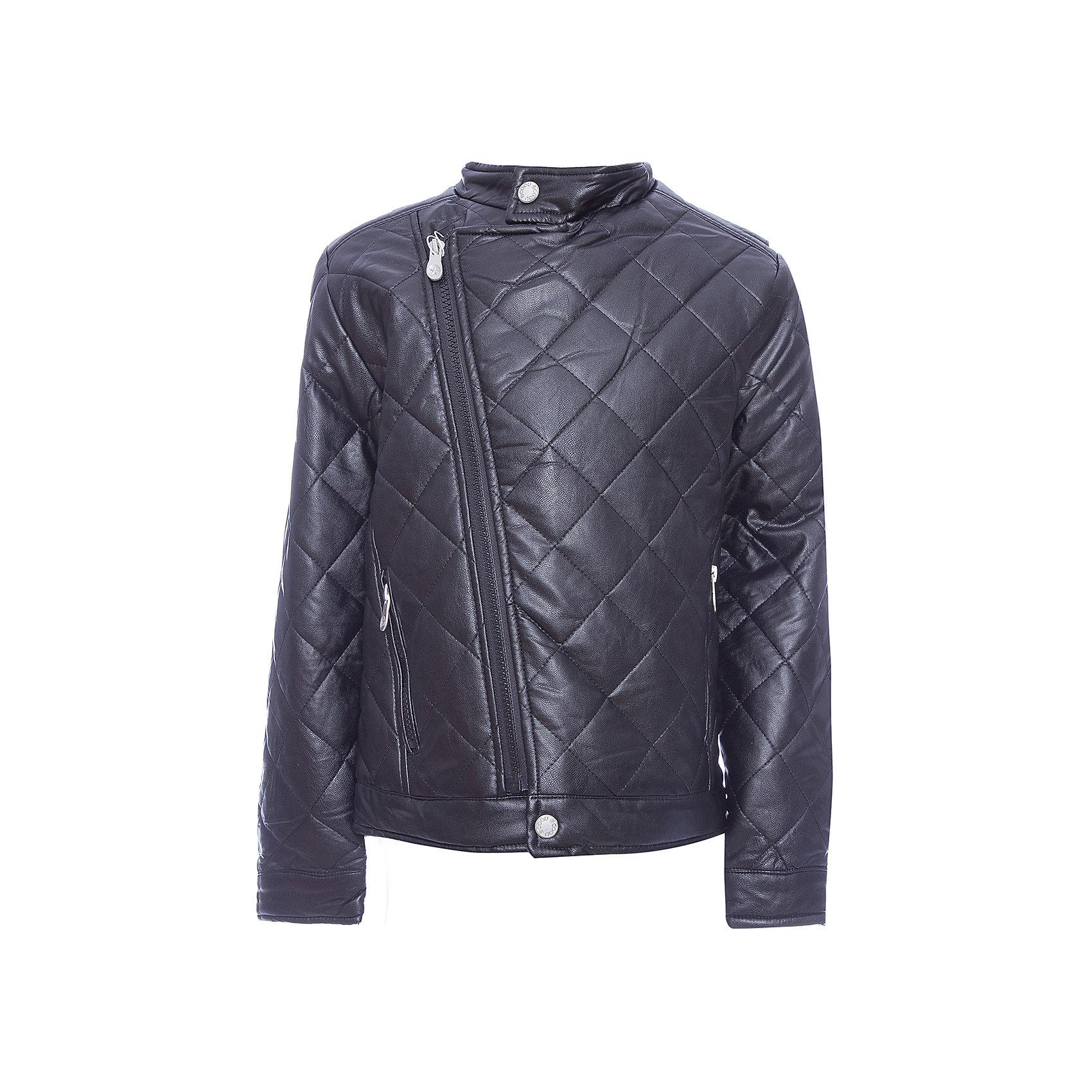 Куртка Scool для мальчикаВерхняя одежда<br>Куртка Scool для мальчика<br>Утепленная стеганная куртка - отличное решение для прохладной погоды.  Модель с воротником стойкой, рукава дополнены манжетами. Куртка выполнена из искусственной кожи. Асимметричное расположение застежки - молнии.<br>Состав:<br>Верх: 55% полиуретан, 45% вискоза, подкладка: 100% полиэстер, наполнитель - 100% полиэстер, 120 г/м2<br><br>Ширина мм: 356<br>Глубина мм: 10<br>Высота мм: 245<br>Вес г: 519<br>Цвет: черный<br>Возраст от месяцев: 156<br>Возраст до месяцев: 168<br>Пол: Мужской<br>Возраст: Детский<br>Размер: 164,134,140,146,152,158<br>SKU: 7104695
