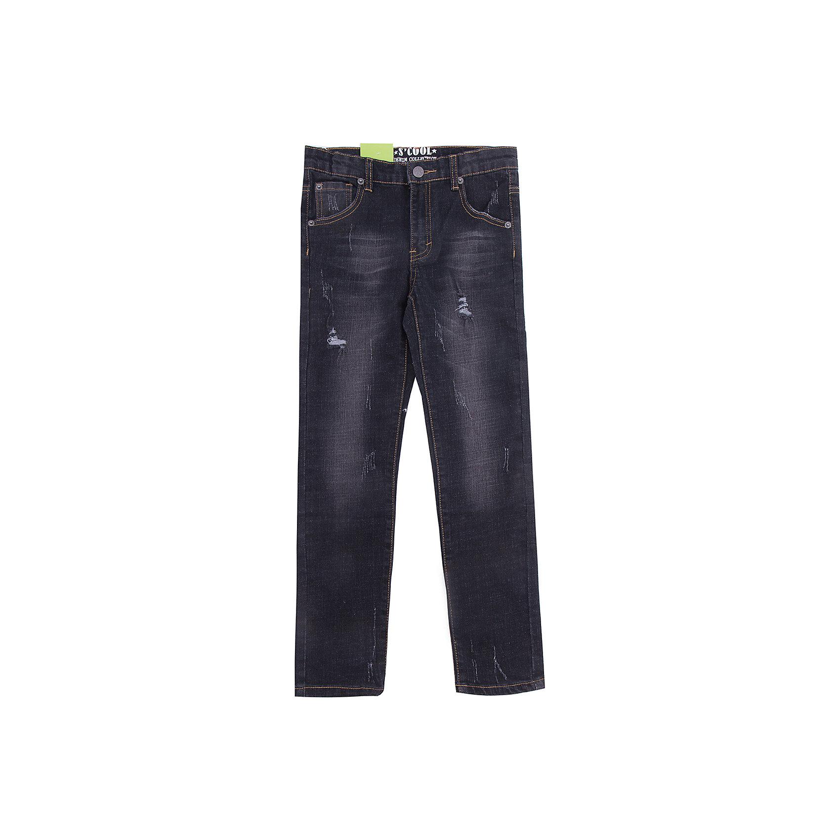 Джинсы Scool для мальчикаДжинсы<br>Джинсы Scool для мальчика<br>Брюки джинсы из наттурального хлопка. Классическая модель со шлевками. При необходимости можно использовать ремень. В качестве декора использованы потертости.<br>Состав:<br>98% хлопок, 2% эластан<br><br>Ширина мм: 215<br>Глубина мм: 88<br>Высота мм: 191<br>Вес г: 336<br>Цвет: черный<br>Возраст от месяцев: 156<br>Возраст до месяцев: 168<br>Пол: Мужской<br>Возраст: Детский<br>Размер: 164,134,140,146,152,158<br>SKU: 7104751