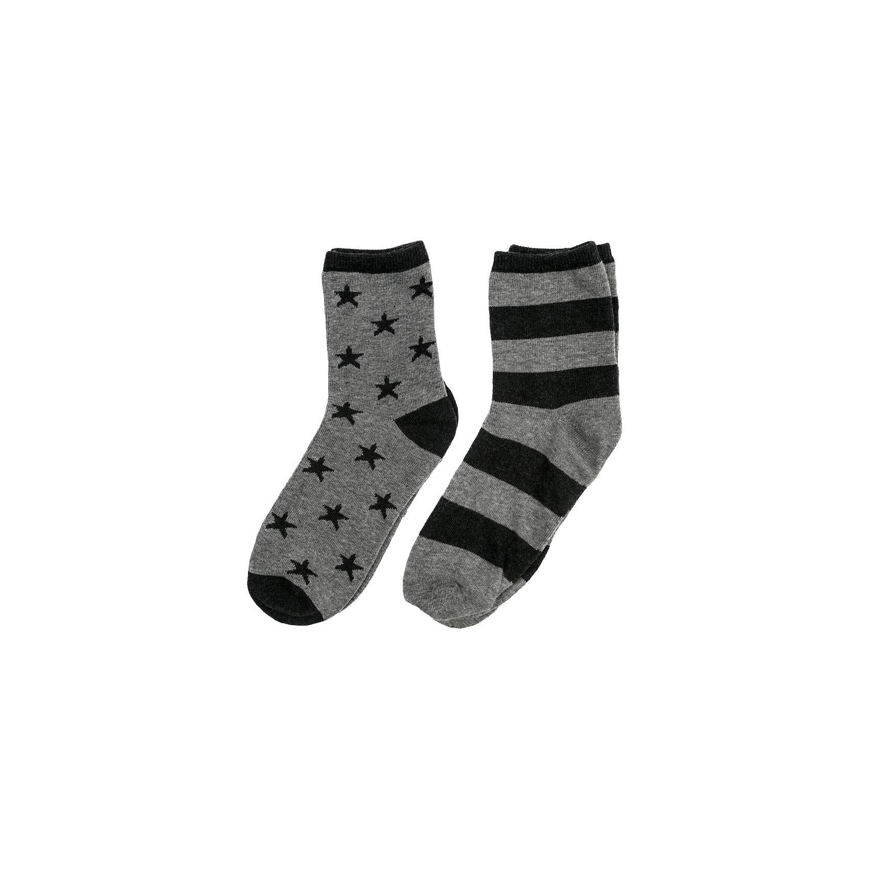 Носки Scool для мальчикаНоски<br>Носки Scool для мальчика<br>Носки с высоким содержанием натурального хлопка, не сковывают движений. Хорошо пропускают воздух, тем самым позволяя коже дышать.  Даже частые стирки, при условии соблюдений рекомендаций по уходу, не изменят ни форму, ни цвет изделия. Метод производства одной модели - yarn dyed - в процессе изготовления в полотне используются разного цвета нити. Вторая модель дополнена жаккардовым рисунком.<br>Состав:<br>75% хлопок, 22% нейлон, 3% эластан<br><br>Ширина мм: 87<br>Глубина мм: 10<br>Высота мм: 105<br>Вес г: 115<br>Цвет: черный/серый<br>Возраст от месяцев: 156<br>Возраст до месяцев: 168<br>Пол: Мужской<br>Возраст: Детский<br>Размер: 24,20,22<br>SKU: 7104836