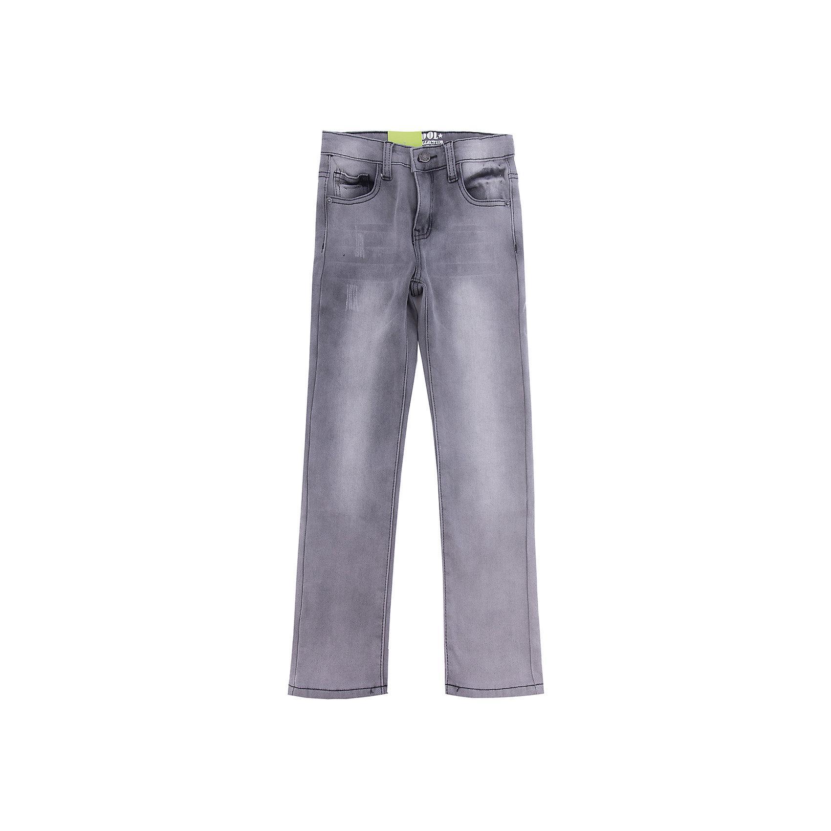 Джинсы Scool для мальчикаДжинсы<br>Джинсы Scool для мальчика<br>Брюки - джинсы из смесовой ткани с высоким содержанием хлопка. Классическая 5-ти карманная модель со шлевками. При необходимости можно использовать ремень. В качестве декора использованы потертости.<br>Состав:<br>50% хлопок, 50% полиэстер<br><br>Ширина мм: 215<br>Глубина мм: 88<br>Высота мм: 191<br>Вес г: 336<br>Цвет: серый<br>Возраст от месяцев: 156<br>Возраст до месяцев: 168<br>Пол: Мужской<br>Возраст: Детский<br>Размер: 164,134,140,146,152,158<br>SKU: 7104908