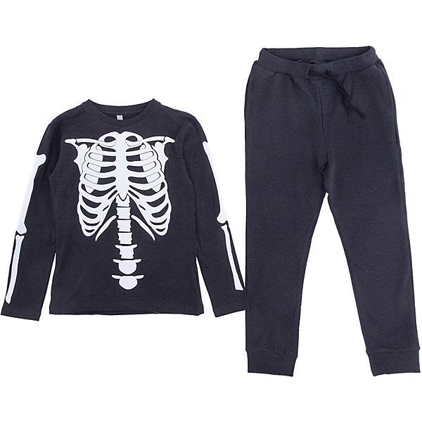 Комплект: футболка и брюки Scool для мальчикаКомплекты<br>Характеристики товара:<br><br>• цвет: черный;<br>• состав: лонгслив – 95% хлопок, 5% эластан, брюки – 80% хлопок, 15% полиэстер, 5% эластан;<br>• особенности: с рисунком;<br>• брюки на широкой резинке;<br>• дополнительный шнурок-кулиска;<br>• два боковых кармана на брюках;<br>• низ штанин  на мягких манжетах;<br>• коллекция: хэллоуин;<br>• страна бренда: Германия;<br>• страна изготовитель: Китай.<br><br>Комплект: футболка и брюки Scool для мальчика. Комплект из натуральной хлопковой ткани. Пояс брюк на широкой резинке, дополнен регулируемым шнуром - кулиской. Брюки с встрочными и накладными карманами. Низ штанин на мягких трикотажных резинках. Футболка дополнена принтом.<br><br>Комплект: футболка и брюки Scool для мальчика (Скул) можно купить в нашем интернет-магазине.<br><br>Ширина мм: 356<br>Глубина мм: 10<br>Высота мм: 245<br>Вес г: 519<br>Цвет: белый<br>Возраст от месяцев: 96<br>Возраст до месяцев: 108<br>Пол: Мужской<br>Возраст: Детский<br>Размер: 164,158,152,146,134,140<br>SKU: 7105034