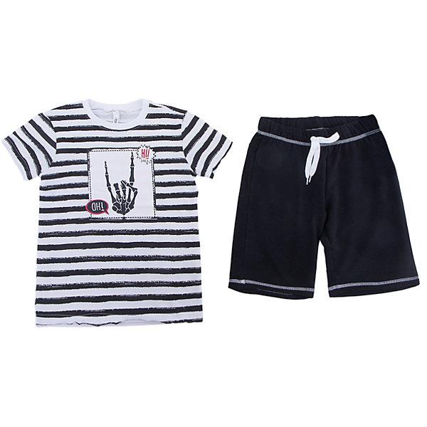 Комплект: футболка и шорты Scool для мальчикаКомплекты<br>Характеристики товара:<br><br>• цвет: белый/черный;<br>• состав: 95% хлопок, 5% эластан;<br>• особенности: в полоску;<br>• в комплекте: футболка, шорты;<br>• шорты на широкой резинке;<br>• дополнительный шнурок-кулиска;<br>• два боковых кармана на шортах;<br>• коллекция: хэллоуин;<br>• страна бренда: Германия;<br>• страна изготовитель: Китай.<br><br>Комплект: футболка и брюки Scool для мальчика. Комплект из футболки и шорт сможет быть и повседневной, и домашней одеждой. Шорты на широкой резинке, не сдавливающей живот ребенка, с регулируемым шнуром - кулиской, дополнены карманами. В качестве декора использован яркий принт.<br><br>Комплект: футболка и брюки Scool для мальчика (Скул) можно купить в нашем интернет-магазине.<br><br>Ширина мм: 356<br>Глубина мм: 10<br>Высота мм: 245<br>Вес г: 519<br>Цвет: белый<br>Возраст от месяцев: 156<br>Возраст до месяцев: 168<br>Пол: Мужской<br>Возраст: Детский<br>Размер: 164,158,152,146,140,134<br>SKU: 7105041