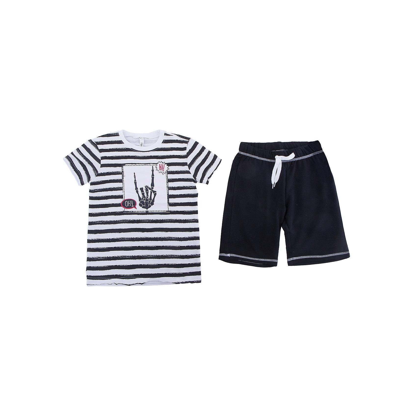 Комплект: футболка и шорты Scool для мальчикаКомплекты<br>Характеристики товара:<br><br>• цвет: белый/черный;<br>• состав: 95% хлопок, 5% эластан;<br>• особенности: в полоску;<br>• в комплекте: футболка, шорты;<br>• шорты на широкой резинке;<br>• дополнительный шнурок-кулиска;<br>• два боковых кармана на шортах;<br>• коллекция: хэллоуин;<br>• страна бренда: Германия;<br>• страна изготовитель: Китай.<br><br>Комплект: футболка и брюки Scool для мальчика. Комплект из футболки и шорт сможет быть и повседневной, и домашней одеждой. Шорты на широкой резинке, не сдавливающей живот ребенка, с регулируемым шнуром - кулиской, дополнены карманами. В качестве декора использован яркий принт.<br><br>Комплект: футболка и брюки Scool для мальчика (Скул) можно купить в нашем интернет-магазине.<br><br>Ширина мм: 356<br>Глубина мм: 10<br>Высота мм: 245<br>Вес г: 519<br>Цвет: белый<br>Возраст от месяцев: 96<br>Возраст до месяцев: 108<br>Пол: Мужской<br>Возраст: Детский<br>Размер: 134,164,158,152,146,140<br>SKU: 7105041