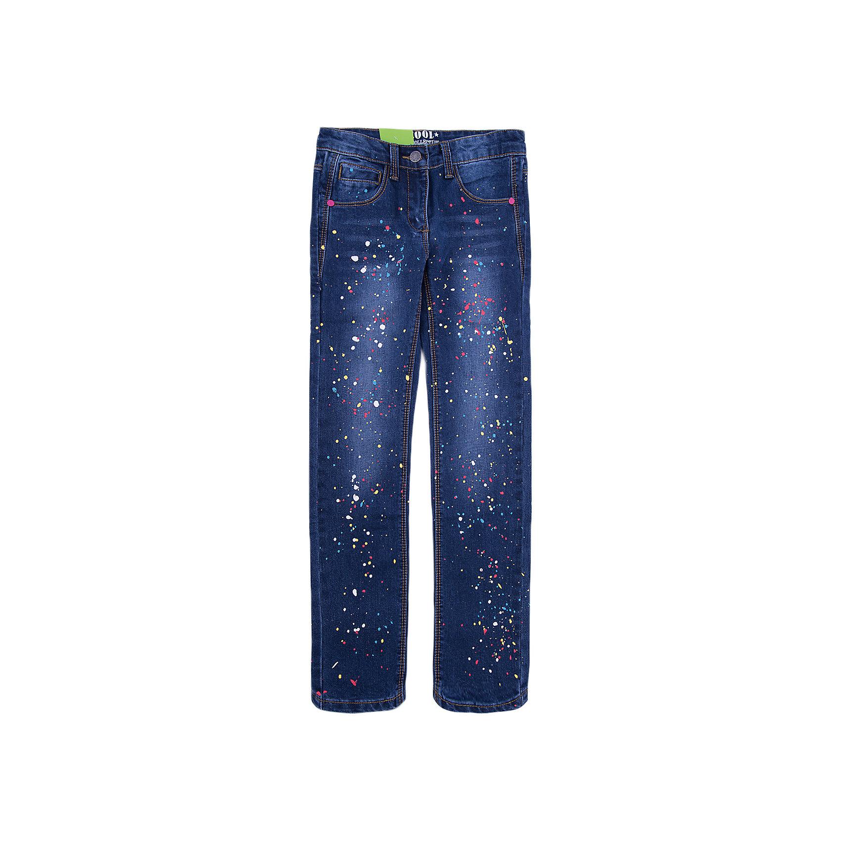 Джинсы Scool для девочкиДжинсы<br>Джинсы Scool для девочки<br>Брюки - джинсы из смесовой ткани с высоким содержанием хлопка. Классическая модель со шлевками. В качестве декора использован принт в виде разноцветных брызг красок.<br>Состав:<br>75% хлопок, 23% полиэстер, 2% эластан<br><br>Ширина мм: 215<br>Глубина мм: 88<br>Высота мм: 191<br>Вес г: 336<br>Цвет: синий<br>Возраст от месяцев: 108<br>Возраст до месяцев: 120<br>Пол: Женский<br>Возраст: Детский<br>Размер: 140,146,152,158,164,134<br>SKU: 7105324