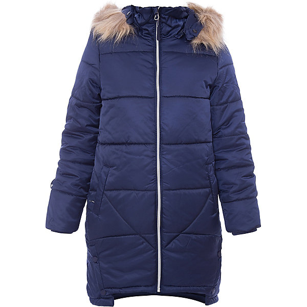Пальто Scool для девочкиВерхняя одежда<br>Характеристики товара:<br><br>• цвет: синий;<br>• состав: 100% полиэстер;<br>• подкладка: 100% полиэстер, флис;<br>• утеплитель: 100% полиэстер, 200 г/м2;<br>• сезон: зима;<br>• температурный режим: от 0 до -20С;<br>• водонепроницаемая ткань;<br>• застежка: молния с защитой подбородка;<br>• капюшон не съемный;<br>• регулируемый капюшон, шнурок-кулиска;<br>• съемный искусственный мех на капюшоне;<br>• заниженная спинка;<br>• сплошная флисовая подкладка;<br>• воротник и манжеты на мягкой эластичной резинке;<br>• рукава с кольцами для перчаток;<br>•  два кармана;<br>• светоотражающие детали;<br>• коллекция: Привет, Париж!;<br>• страна бренда: Германия;<br>• страна изготовитель: Китай.<br><br>Пальто Scool для девочки. Теплое пальто из водонепроницаемой ткани. Модель застегивается на молнию. Специальный карман для фиксации бегунка не позволит застежке травмировать нежную детскую кожу. Встрочной капюшон дополнен опушкой из искусственного меха, при необходимости мех можно отстегнуть. Контур капюшона регулируется шнуром - кулиской. <br><br>Пальто с заниженной спинкой. Подкладка из флиса. Воротник и манжеты изделия на мягких трикотажных резинках. Светоотражатели обеспечат видимость ребенка в темное время суток. Рукава дополнены кольцами для перчаток.<br><br>Пальто Scool для девочки (Скул) можно купить в нашем интернет-магазине.<br>Ширина мм: 356; Глубина мм: 10; Высота мм: 245; Вес г: 519; Цвет: синий; Возраст от месяцев: 96; Возраст до месяцев: 108; Пол: Женский; Возраст: Детский; Размер: 134,164,158,152,146,140; SKU: 7105478;