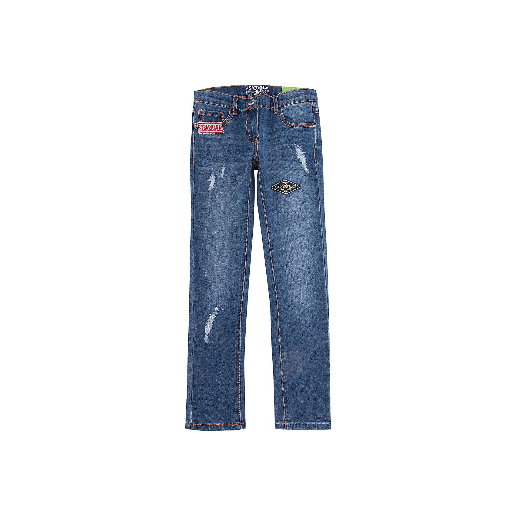 Джинсы Scool для девочкиДжинсовая одежда<br>Джинсы Scool для девочки<br>Брюки - джинсы из смесовой ткани с высоким содержанием хлопка. Классическая модель со шлевками. В качестве декора использованы небольшие аппликации и потертости.<br>Состав:<br>65% хлопок, 32% полиэстер, 3% эластан<br><br>Ширина мм: 215<br>Глубина мм: 88<br>Высота мм: 191<br>Вес г: 336<br>Цвет: синий<br>Возраст от месяцев: 96<br>Возраст до месяцев: 108<br>Пол: Женский<br>Возраст: Детский<br>Размер: 134,140,146,152,158,164<br>SKU: 7105548