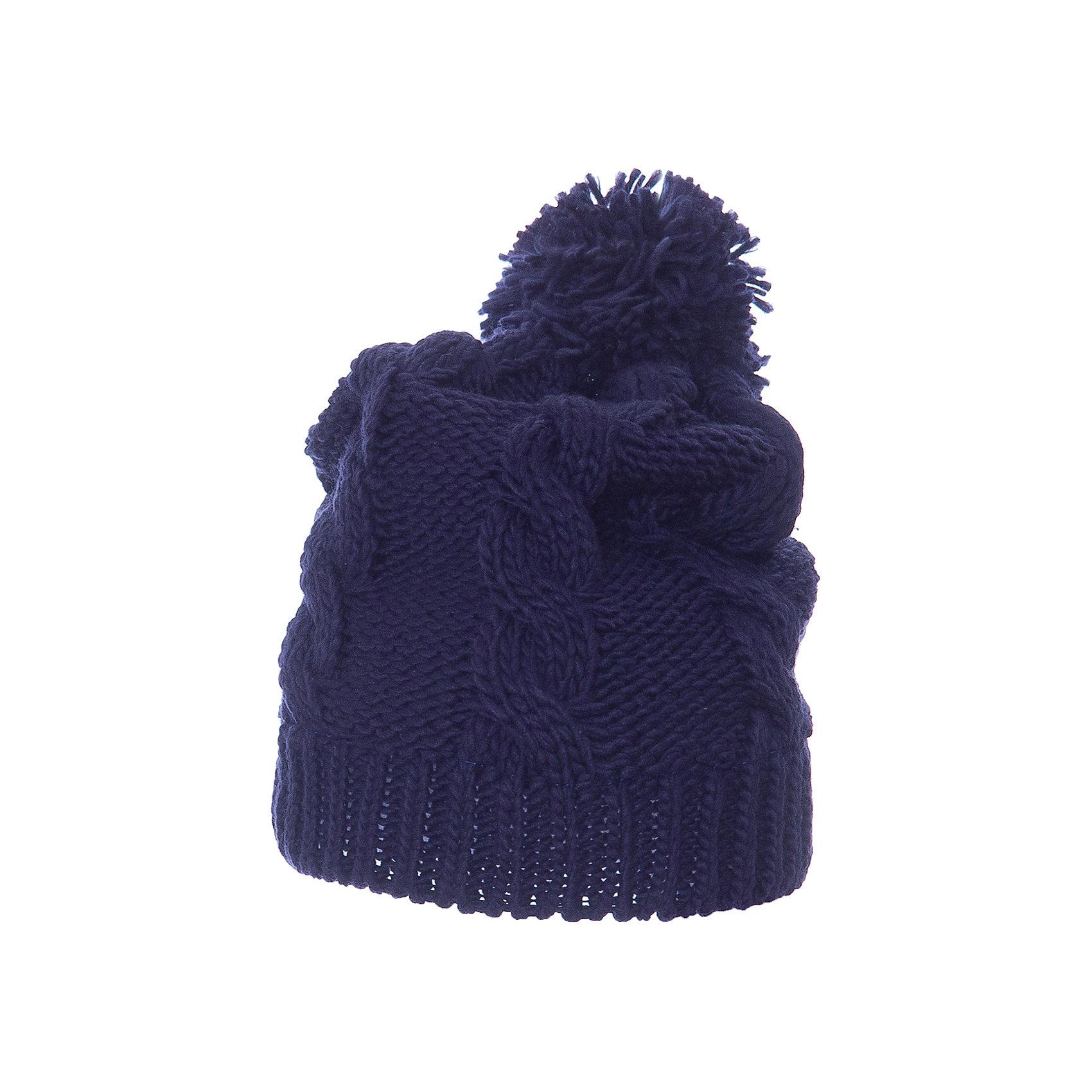 Шапка Scool для девочкиГоловные уборы<br>Шапка Scool для девочки<br>Вязаная шапка на подкладке из теплого флиса - отличное решение для прогулок в холодную погоду. Модель хорошо облегает голову и комфортна при носке. Модель декорирована эффектным помпоном.<br>Состав:<br>Верх: 100% акрил,  подкладка: 100% полиэстер<br><br>Ширина мм: 89<br>Глубина мм: 117<br>Высота мм: 44<br>Вес г: 155<br>Цвет: синий<br>Возраст от месяцев: 96<br>Возраст до месяцев: 120<br>Пол: Женский<br>Возраст: Детский<br>Размер: 56,54<br>SKU: 7105605