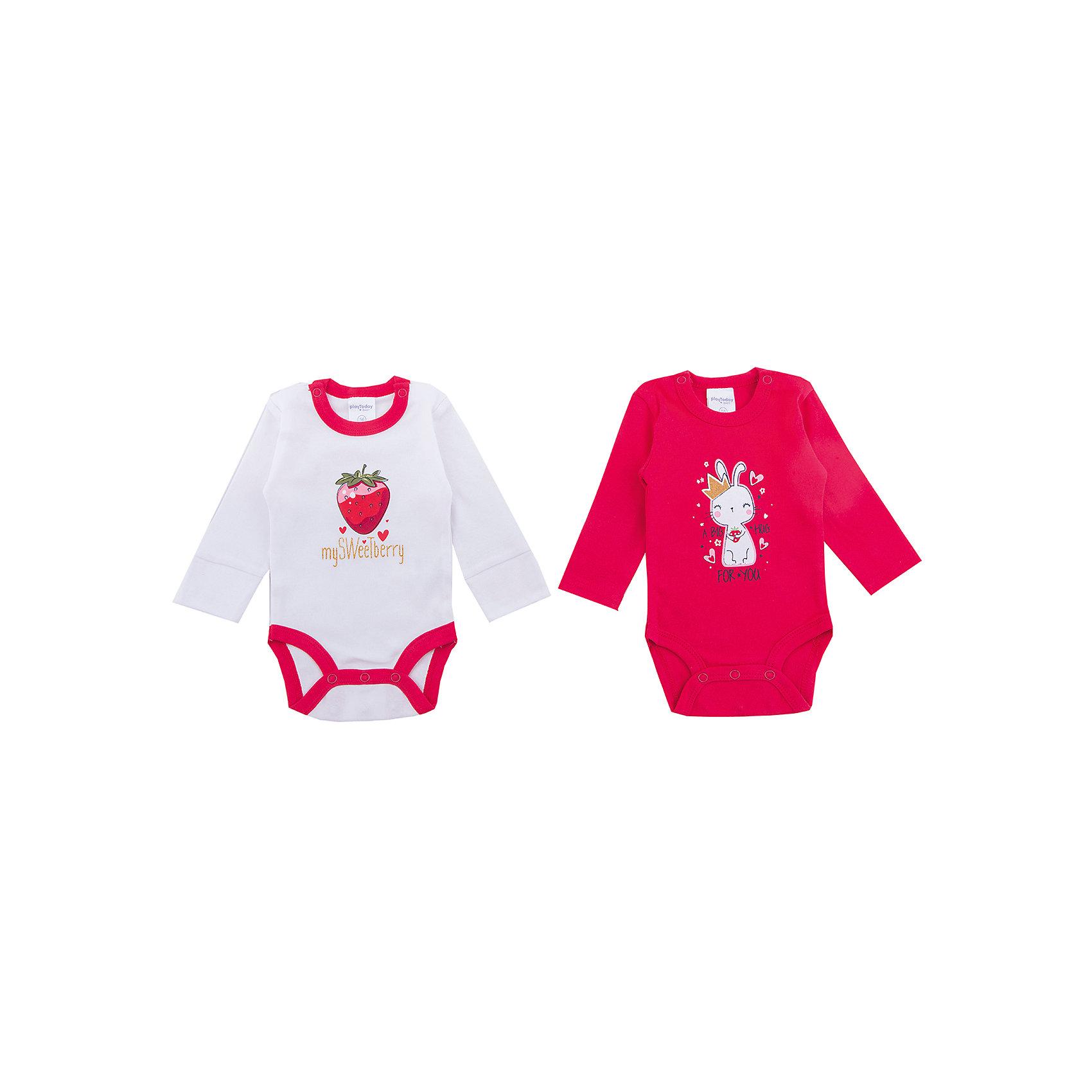 Боди, 2 шт  PlayToday для девочкиБоди<br>Боди PlayToday для девочки<br>Комплект боди с длинными рукавами разнообразит гардероб ребенка. Горловины моделей дополнены застежками - кнопками. Для быстрой смены подгузника паховая часть изделий также на удобных кнопках. В коллекциях для новорожденых предусмотрены специальные манжеты, которые можно превратить в рукавички - ребенок не сможет себя поранить и оцарапать. В качестве декора использованы яркие принты. Натуральная ткань и аккуратные швы не вызывают раздражений и неприятных ощущений. Модели с двумя рядами кнопок Растем вместе - боди растет вместе с ребенком.<br>Состав:<br>100% хлопок<br><br>Ширина мм: 157<br>Глубина мм: 13<br>Высота мм: 119<br>Вес г: 200<br>Цвет: белый<br>Возраст от месяцев: 0<br>Возраст до месяцев: 3<br>Пол: Женский<br>Возраст: Детский<br>Размер: 56,74,68,62<br>SKU: 7107322