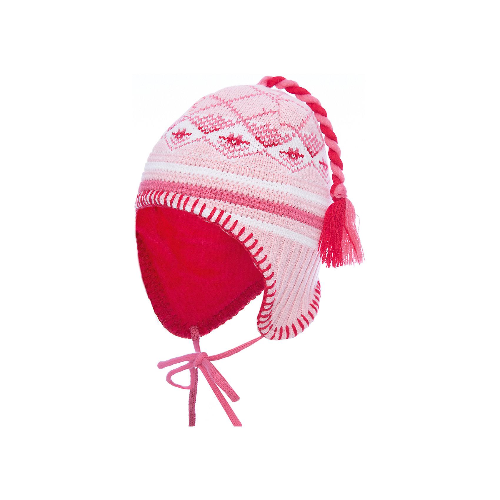 Шапка PlayToday для девочкиДемисезонные<br>Шапка PlayToday для девочки<br>Двуслойная вязаная шапка на завязках. Верхняя часть модели с высоким содержанием натурального хлопка. Подкладка из натурального велюра. Эргономичная конструкция изделия защитит уши ребенка от ветра. В качестве декора использован помпон - кисточка.<br>Состав:<br>Верх: 60%хлопок, 40% акрил; Подкладка: 80% хлопок, 20% полиэстер.<br><br>Ширина мм: 89<br>Глубина мм: 117<br>Высота мм: 44<br>Вес г: 155<br>Цвет: белый<br>Возраст от месяцев: 4<br>Возраст до месяцев: 6<br>Пол: Женский<br>Возраст: Детский<br>Размер: 44,40,42<br>SKU: 7107340
