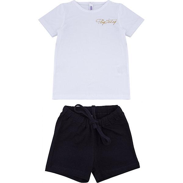 Комплект: футболка и шорты PlayToday для девочкиКомплекты<br>Характеристики товара:<br><br>• цвет: белый, черный<br>• комплектация: футболка и шорты<br>• состав ткани: 95% хлопок, 5% эластан<br>• сезон: лето<br>• короткие рукава<br>• пояс: резинка, шнурок<br>• страна бренда: Германия<br>• страна изготовитель: Китай<br><br>Трикотажный детский комплект состоит из футболки и шорт. Комплект для девочки подойдет для занятий спортом. Комплект для детей сделан из легких качественных материалов. Детская одежда и обувь от европейского бренда PlayToday - выбор многих родителей. <br><br>Комплект: футболка и шорты PlayToday (ПлэйТудэй) для девочки можно купить в нашем интернет-магазине.<br><br>Ширина мм: 199<br>Глубина мм: 10<br>Высота мм: 161<br>Вес г: 151<br>Цвет: белый<br>Возраст от месяцев: 108<br>Возраст до месяцев: 120<br>Пол: Женский<br>Возраст: Детский<br>Размер: 140,98,104,110,116,122,128,134<br>SKU: 7107424