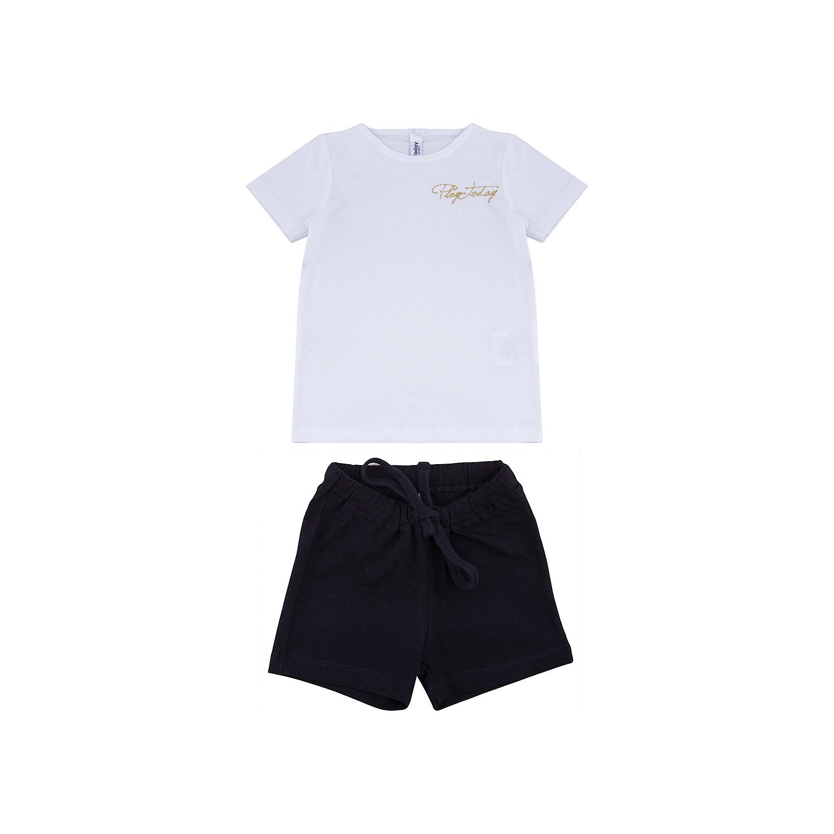 Комплект: футболка и шорты PlayToday для девочкиКомплекты<br>Комплект: футболка и шорты PlayToday для девочки<br>Классический комплект из белой футболки и черных шорт прекрасно подойдет для занятий спортом. Добавление в материал эластана позволяет комплекту хорошо сесть по фигуре. Пояс шорт на мягкой широкой резинке, не сдавливающей живот ребенка, дополнен регулируемым шнуром - кулиской. На футболке в качестве декора использован небольшой принт.<br>Состав:<br>95% хлопок, 5% эластан<br><br>Ширина мм: 199<br>Глубина мм: 10<br>Высота мм: 161<br>Вес г: 151<br>Цвет: белый<br>Возраст от месяцев: 108<br>Возраст до месяцев: 120<br>Пол: Женский<br>Возраст: Детский<br>Размер: 140,98,104,110,116,122,128,134<br>SKU: 7107424