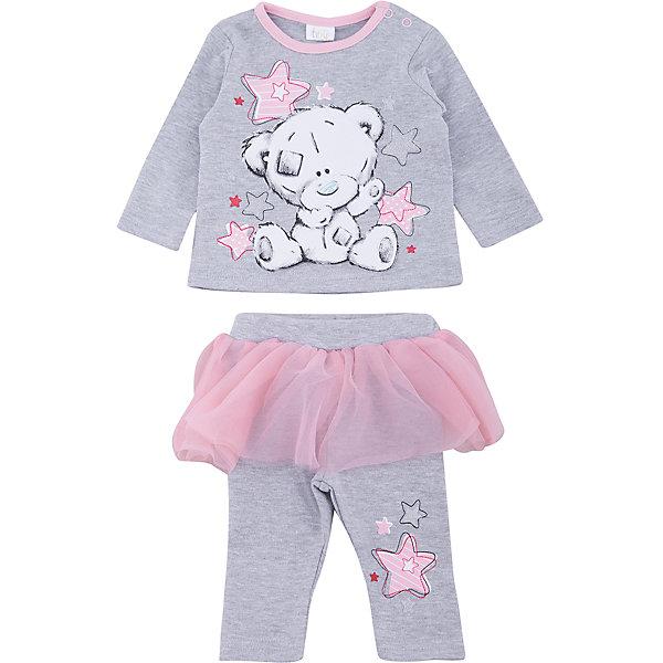 Комплект: футболка с длинным рукавом и брюки PlayToday для девочкиКомплекты<br>Характеристики товара:<br><br>• цвет: серый<br>• комплектация: лонгслив и брюки<br>• состав ткани: 95% хлопок, 5% эластан<br>• сезон: демисезон<br>• застежка: кнопки<br>• длинные рукава<br>• пояс: резинка<br>• страна бренда: Германия<br>• страна изготовитель: Китай<br><br>Этот детский комплект отличается мягкими швами и продуманным кроем. Трикотажный детский комплект состоит из лонгслива и брюк. Комплект для девочки не сковывает движений. Детская одежда и обувь от европейского бренда PlayToday - выбор многих родителей. <br><br>Комплект: лонгслив и брюки PlayToday (ПлэйТудэй) для девочки можно купить в нашем интернет-магазине.<br>Ширина мм: 230; Глубина мм: 40; Высота мм: 220; Вес г: 250; Цвет: серый; Возраст от месяцев: 0; Возраст до месяцев: 3; Пол: Женский; Возраст: Детский; Размер: 56,74,68,62; SKU: 7107836;