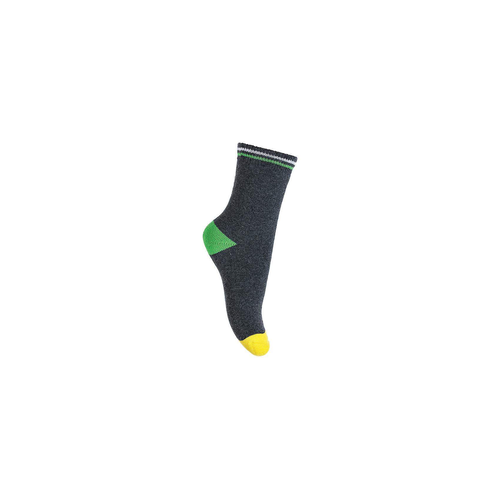 Носки PlayToday для мальчикаНоски<br>Носки PlayToday для мальчика<br>Махровые носки очень мягкие, из  натуральных материалов, приятные к телу и не сковывают движений. Хорошо пропускают воздух, тем самым позволяя коже дышать. Даже частые стирки, при условии соблюдений рекомендаций по уходу, не изменят ни форму, ни цвет изделия. Модель выполнена в технике - yarn dyed - в процессе производства в полотне используются разного цвета нити.  Мягкая резинка не сдавливает нежную детскую кожу.<br>Состав:<br>80% хлопок, 15% нейлон, 5% эластан<br><br>Ширина мм: 87<br>Глубина мм: 10<br>Высота мм: 105<br>Вес г: 115<br>Цвет: серый<br>Возраст от месяцев: 84<br>Возраст до месяцев: 96<br>Пол: Мужской<br>Возраст: Детский<br>Размер: 18,14,16<br>SKU: 7109613