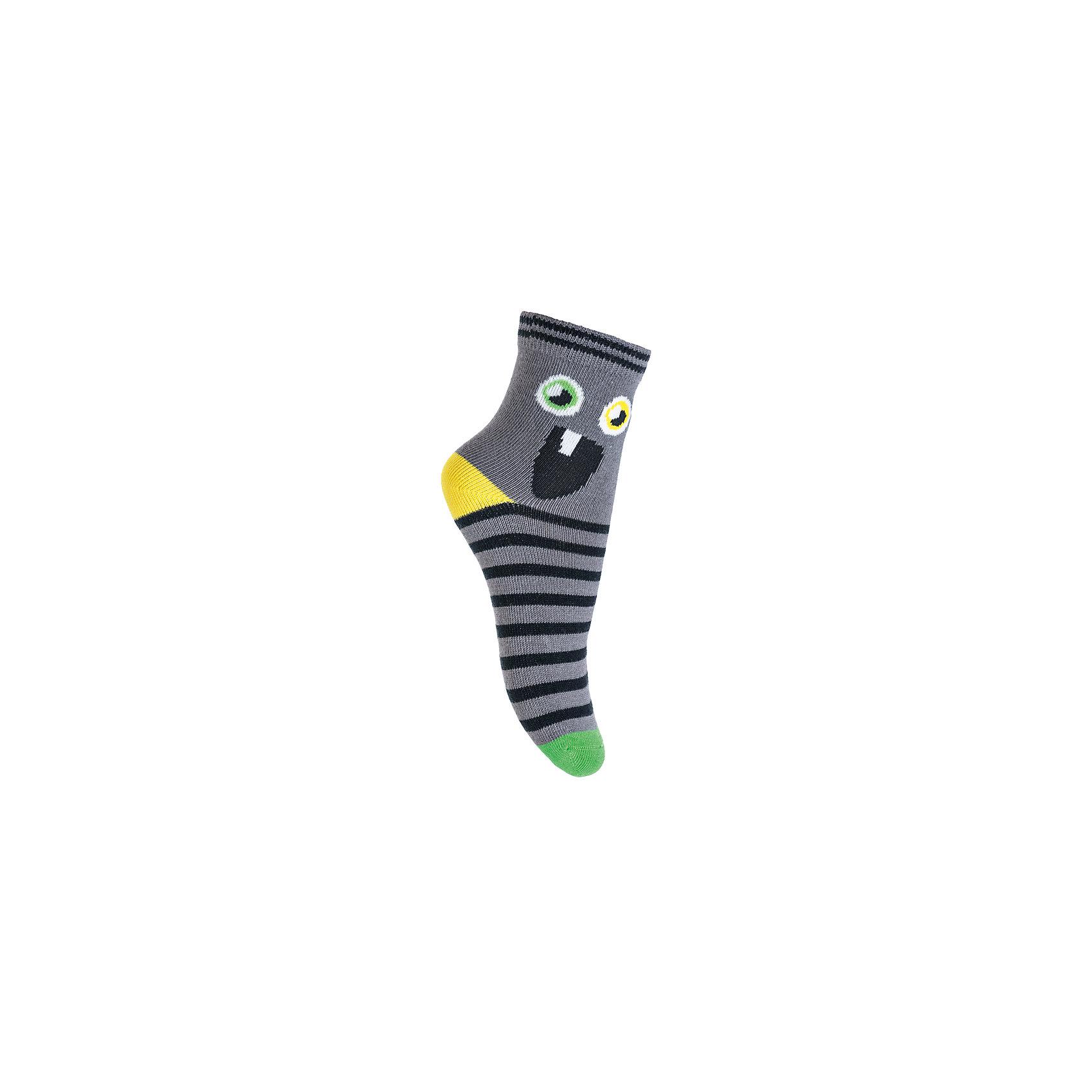 Носки PlayToday для мальчикаНоски<br>Носки PlayToday для мальчика<br>Носки очень мягкие, из  натуральных материалов, приятные к телу и не сковывают движений. Хорошо пропускают воздух, тем самым позволяя коже дышать. Даже частые стирки, при условии соблюдений рекомендаций по уходу, не изменят ни форму, ни цвет изделия. Модель декорирована оригинальным жаккардовым рисунком. Мягкая резинка не сдавливает нежную детскую кожу.<br>Состав:<br>75% хлопок, 22% нейлон, 3% эластан<br><br>Ширина мм: 87<br>Глубина мм: 10<br>Высота мм: 105<br>Вес г: 115<br>Цвет: белый<br>Возраст от месяцев: 84<br>Возраст до месяцев: 96<br>Пол: Мужской<br>Возраст: Детский<br>Размер: 18,14,16<br>SKU: 7109617