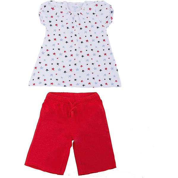 Комплект: футболка и шорты PlayToday для девочкиКомплекты<br>Характеристики товара:<br><br>• цвет: белый, красный<br>• комплектация: футболка и шорты<br>• состав ткани: 95% хлопок, 5% эластан<br>• сезон: лето<br>• короткие рукава<br>• пояс: резинка, шнурок<br>• страна бренда: Германия<br>• страна изготовитель: Китай<br><br>Трикотажный детский комплект состоит из футболки и шорт. Комплект для девочки может быть домашней одеждой или пижамой. Комплект для детей сделан из легких качественных материалов. Детская одежда и обувь от европейского бренда PlayToday - выбор многих родителей. <br><br>Комплект: футболка и шорты PlayToday (ПлэйТудэй) для девочки можно купить в нашем интернет-магазине.<br>Ширина мм: 199; Глубина мм: 10; Высота мм: 161; Вес г: 151; Цвет: белый; Возраст от месяцев: 84; Возраст до месяцев: 96; Пол: Женский; Возраст: Детский; Размер: 128,98,104,110,116,122; SKU: 7109663;