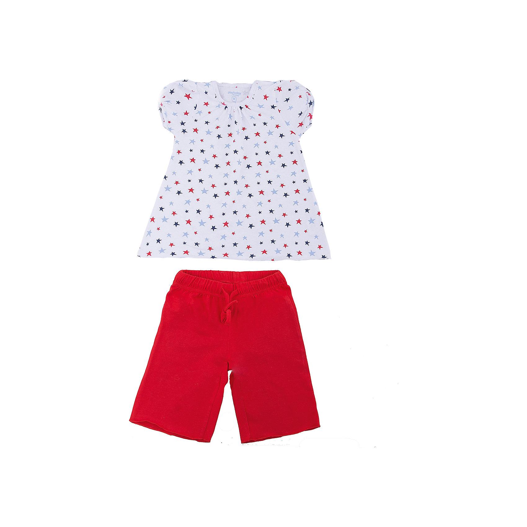 Комплект: футболка и шорты PlayToday для девочкиКомплекты<br>Комплект: футболка и шорты PlayToday для девочки<br>Комплект из футболки и шорт может быть и домашней одеждой, и уютной пижамой. Натуральный, приятный к телу материал не сковывает движений. Пояс брюк на широкой мягкой резинке, дополнен регулируемым шнуром - кулиской. Футболка выполнена из принтованной ткани с нежным рисунком.<br>Состав:<br>95% хлопок, 5% эластан<br><br>Ширина мм: 199<br>Глубина мм: 10<br>Высота мм: 161<br>Вес г: 151<br>Цвет: белый<br>Возраст от месяцев: 84<br>Возраст до месяцев: 96<br>Пол: Женский<br>Возраст: Детский<br>Размер: 128,98,104,110,116,122<br>SKU: 7109663