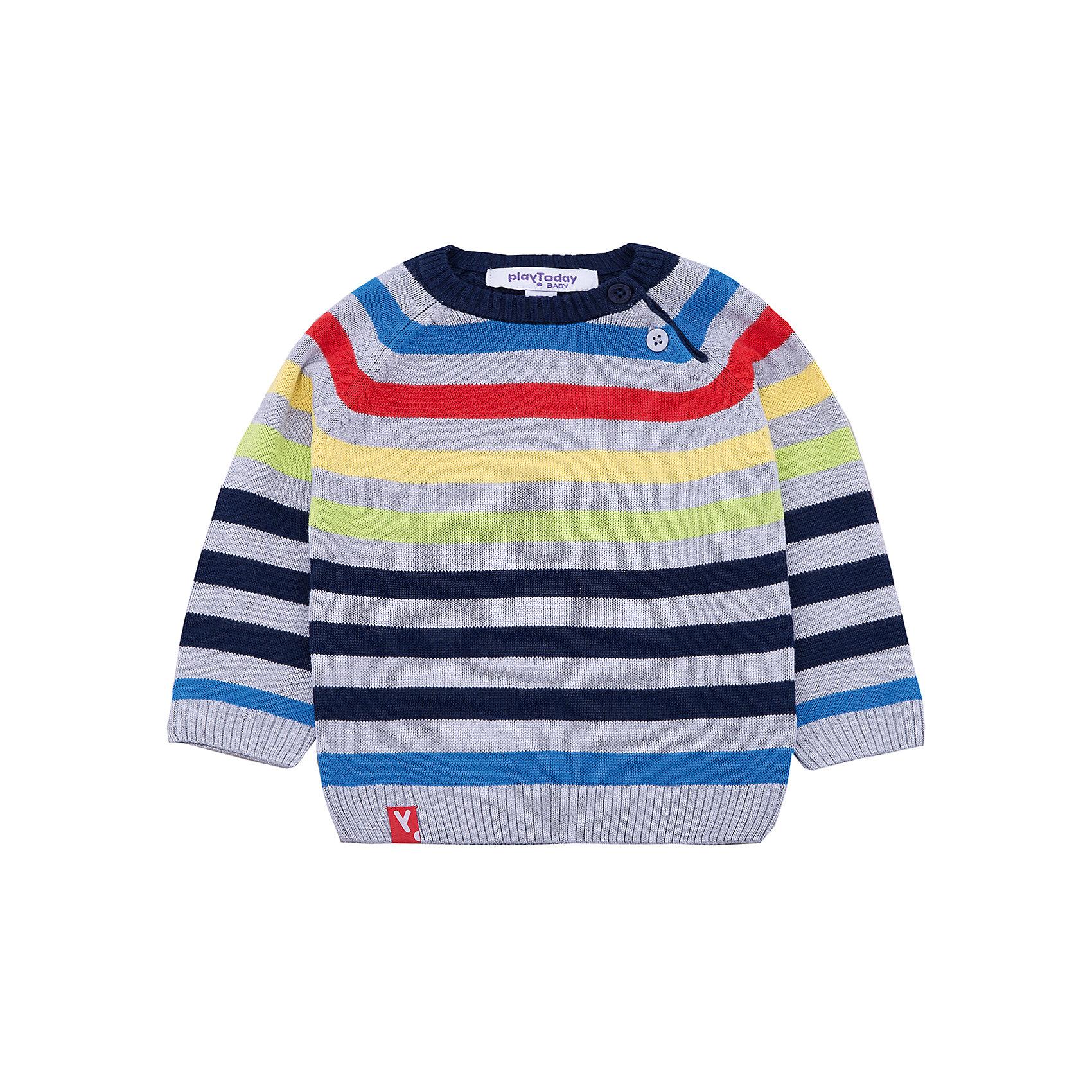 Джемпер PlayToday для мальчикаТолстовки, свитера, кардиганы<br>Джемпер PlayToday для мальчика<br>Джемпер - отличное решение для повседневного гардероба ребенка. Свободный крой не сковывает движений. Модель выполнена по технологии yarn dyed - в процессе производства используются разного цвета нити. При рекомендуемом уходе изделие не линяет и надолго остается в прежнем виде.<br>Состав:<br>60% вискоза, 40% хлопок<br><br>Ширина мм: 190<br>Глубина мм: 74<br>Высота мм: 229<br>Вес г: 236<br>Цвет: белый<br>Возраст от месяцев: 6<br>Возраст до месяцев: 9<br>Пол: Мужской<br>Возраст: Детский<br>Размер: 74,92,86,80<br>SKU: 7109695