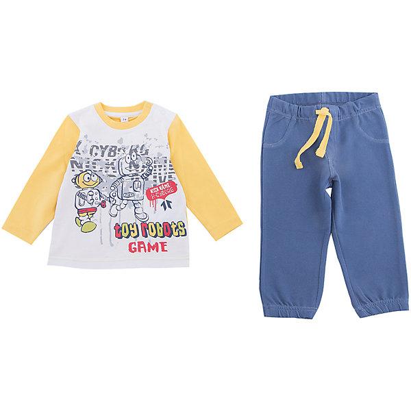 Комплект: футболка с длинным рукавом и брюки PlayToday для мальчикаКомплекты<br>Характеристики товара:<br><br>• цвет: синий<br>• комплектация: лонгслив и брюки<br>• состав ткани: 92% хлопок, 8%эластан<br>• сезон: демисезон<br>• особенность модели: спортивный стиль<br>• длинные рукава<br>• пояс: резинка, шнурок<br>• страна бренда: Германия<br>• страна изготовитель: Китай<br><br>Удобный детский комплект отличается мягкими швами и продуманным кроем. Трикотажный детский комплект состоит из лонгслива и брюк. Комплект для мальчика подойдет для занятий спортом. Комплект для детей сделан из легких качественных материалов. Детская одежда и обувь от европейского бренда PlayToday - выбор многих родителей. <br><br>Комплект: лонгслив и брюки PlayToday (ПлэйТудэй) для мальчика можно купить в нашем интернет-магазине.<br><br>Ширина мм: 230<br>Глубина мм: 40<br>Высота мм: 220<br>Вес г: 250<br>Цвет: белый<br>Возраст от месяцев: 6<br>Возраст до месяцев: 9<br>Пол: Мужской<br>Возраст: Детский<br>Размер: 74,92,86,80<br>SKU: 7109799