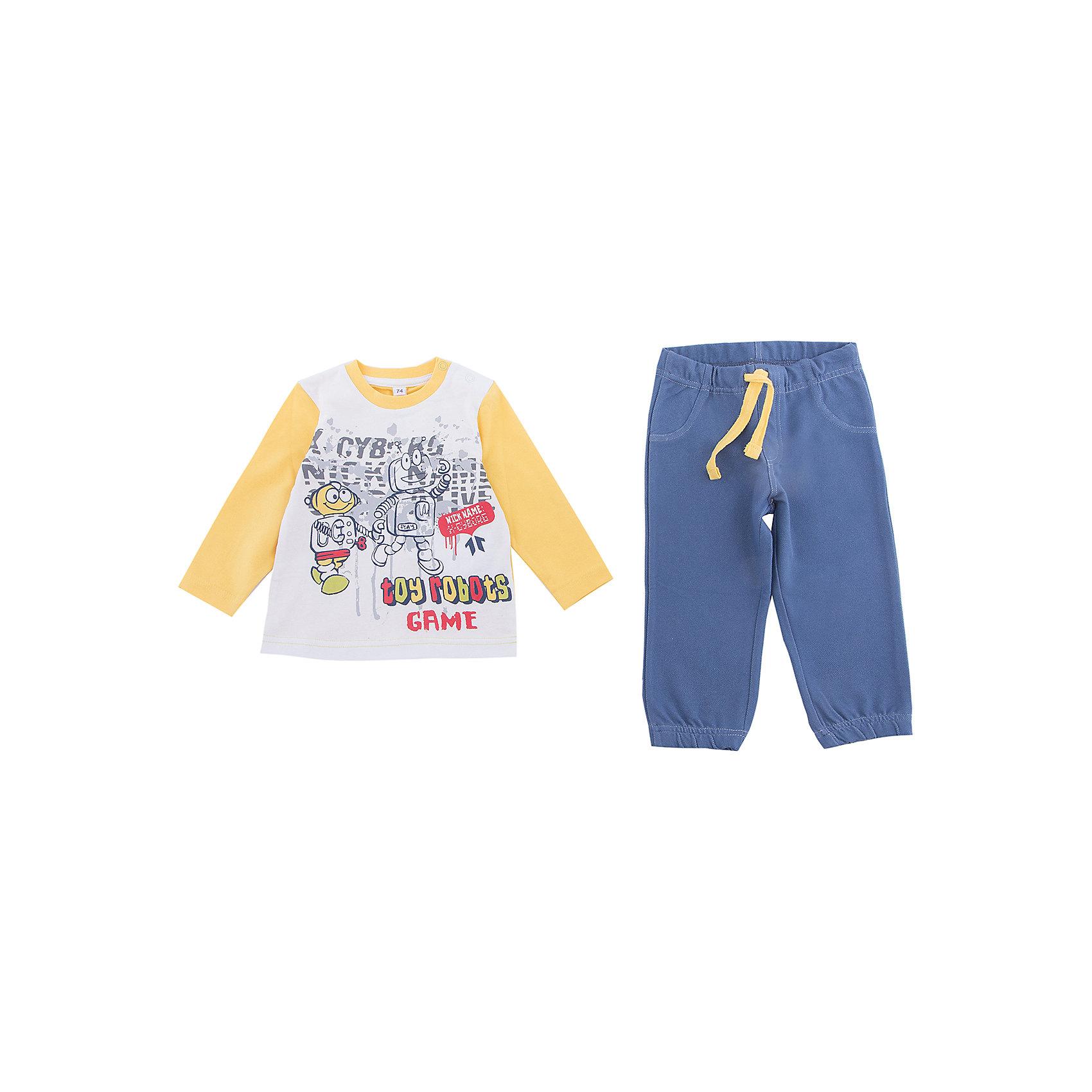 Комплект: футболка с длинным рукавом и брюки PlayToday для мальчикаКомплекты<br>Комплект: футболка с длинным рукавом и брюки PlayToday для мальчика<br>Комплект из футболки с длинным рукавом и брюк - отличное решение и для повседневного гардероба, и в качестве домашней одежды. Приятная на ощупь ткань не вызывает раздражений. Модель декорирована принтом. Для удобства снимания и одевания горловина футболки дополнена застежками - кнопками. Пояс брюк на мягкой резинке, не сдавливающей живот ребенка.<br>Состав:<br>92% хлопок, 8%эластан / 75% хлопок, 20% полиэстер, 5%эластан<br><br>Ширина мм: 230<br>Глубина мм: 40<br>Высота мм: 220<br>Вес г: 250<br>Цвет: белый<br>Возраст от месяцев: 18<br>Возраст до месяцев: 24<br>Пол: Мужской<br>Возраст: Детский<br>Размер: 92,74,80,86<br>SKU: 7109799