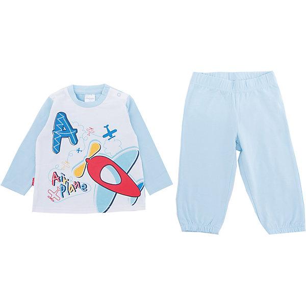 Комплект: футболка и брюки PlayToday для мальчикаКомплекты<br>Характеристики товара:<br><br>• цвет: голубой<br>• комплектация: лонгслив и брюки<br>• состав ткани: 95% хлопок, 5% эластан<br>• сезон: демисезон<br>• застежка: кнопки<br>• длинные рукава<br>• пояс: резинка<br>• страна бренда: Германия<br>• страна изготовитель: Китай<br><br>Этот детский комплект отличается мягкими швами и продуманным кроем. Трикотажный детский комплект состоит из лонгслива и брюк. Комплект для мальчика подойдет для занятий спортом. Комплект для детей сделан из легких качественных материалов. Детская одежда и обувь от европейского бренда PlayToday - выбор многих родителей. <br><br>Комплект: лонгслив и брюки PlayToday (ПлэйТудэй) для мальчика можно купить в нашем интернет-магазине.<br><br>Ширина мм: 199<br>Глубина мм: 10<br>Высота мм: 161<br>Вес г: 151<br>Цвет: белый<br>Возраст от месяцев: 18<br>Возраст до месяцев: 24<br>Пол: Мужской<br>Возраст: Детский<br>Размер: 92,74,80,86<br>SKU: 7109814