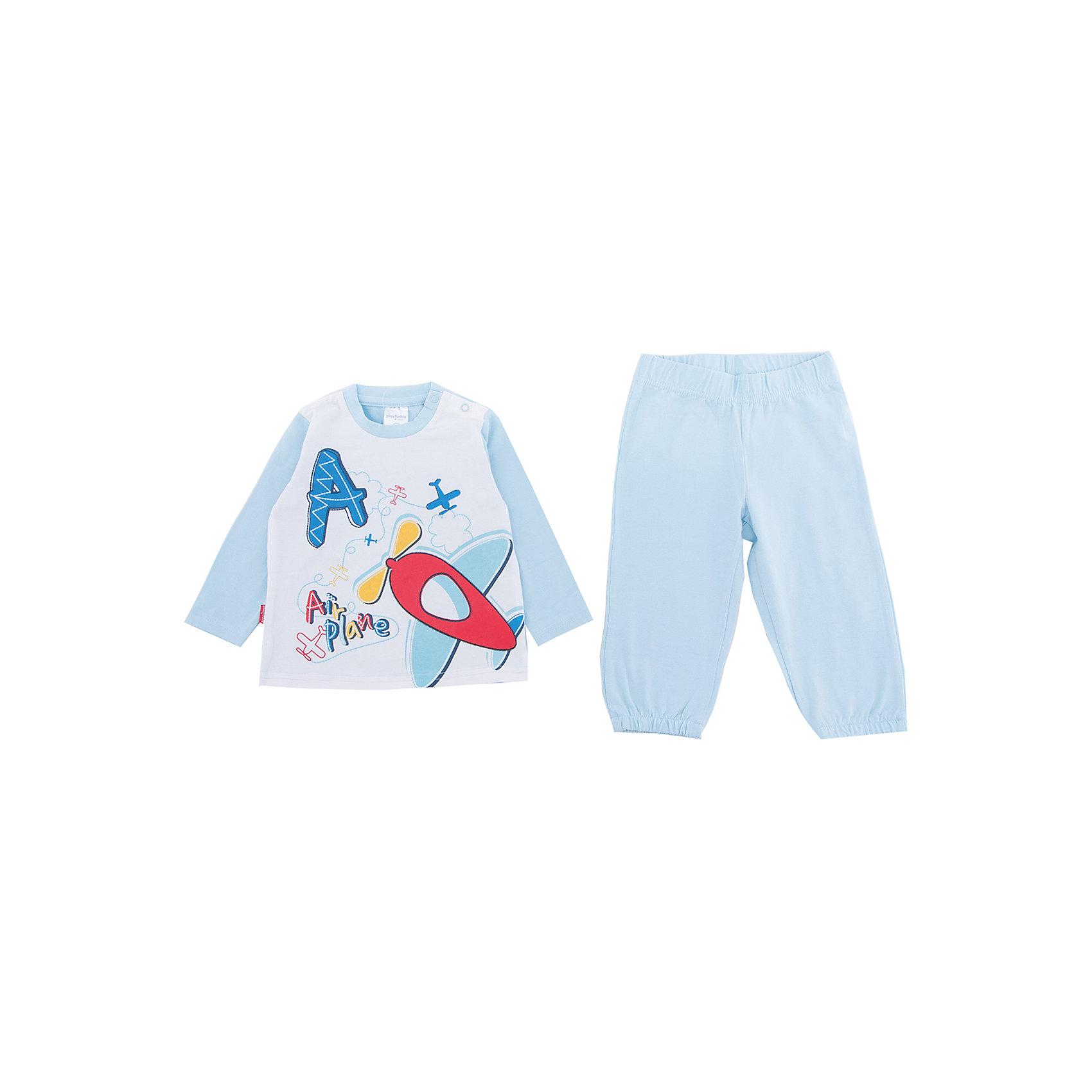 Комплект: футболка и брюки PlayToday для мальчикаКомплекты<br>Комплект: футболка и брюки PlayToday для мальчика<br>Комплект из футболки и брюк может быть и домашней одеждой, и уютной пижамой. Натуральный, приятный к телу материал не сковывает движений. В качестве украшения использован принт в спокойных тонах. Для удобства снимания и одевания на горловине предусмотрены удобные застежки - кнопки. Пояс модели и низ брючин на мягких широких резинках.<br>Состав:<br>95% хлопок, 5% эластан<br><br>Ширина мм: 199<br>Глубина мм: 10<br>Высота мм: 161<br>Вес г: 151<br>Цвет: белый<br>Возраст от месяцев: 6<br>Возраст до месяцев: 9<br>Пол: Мужской<br>Возраст: Детский<br>Размер: 74,92,86,80<br>SKU: 7109814