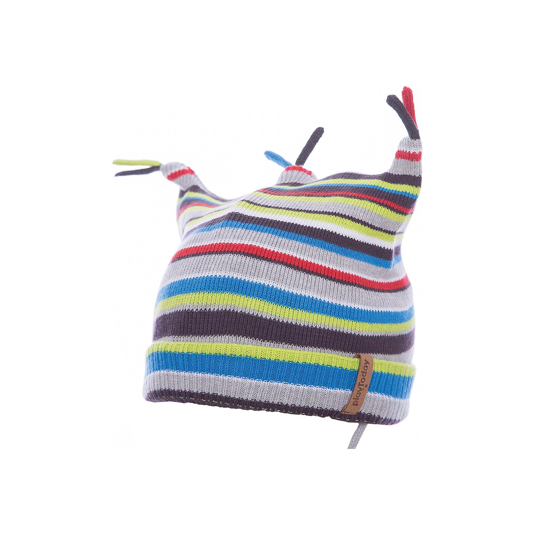 Шапка PlayToday для мальчикаШапочки<br>Шапка PlayToday для мальчика<br>Двуслойная шапка из трикотажа - отличное решение для холодной погоды. Модель на завязках, дополнена оригинальными помпонами - кисточками. Необычная конструкция шапки создает эффект ушек.  Модель выполнена в технике yarn dyed -  в процессе производства используются разного цвета нити. При рекомендуемом уходе изделие не линяет и надолго остается в первоначальном виде.<br>Состав:<br>60% хлопок, 40% акрил<br><br>Ширина мм: 89<br>Глубина мм: 117<br>Высота мм: 44<br>Вес г: 155<br>Цвет: белый<br>Возраст от месяцев: 12<br>Возраст до месяцев: 18<br>Пол: Мужской<br>Возраст: Детский<br>Размер: 48,46<br>SKU: 7109827