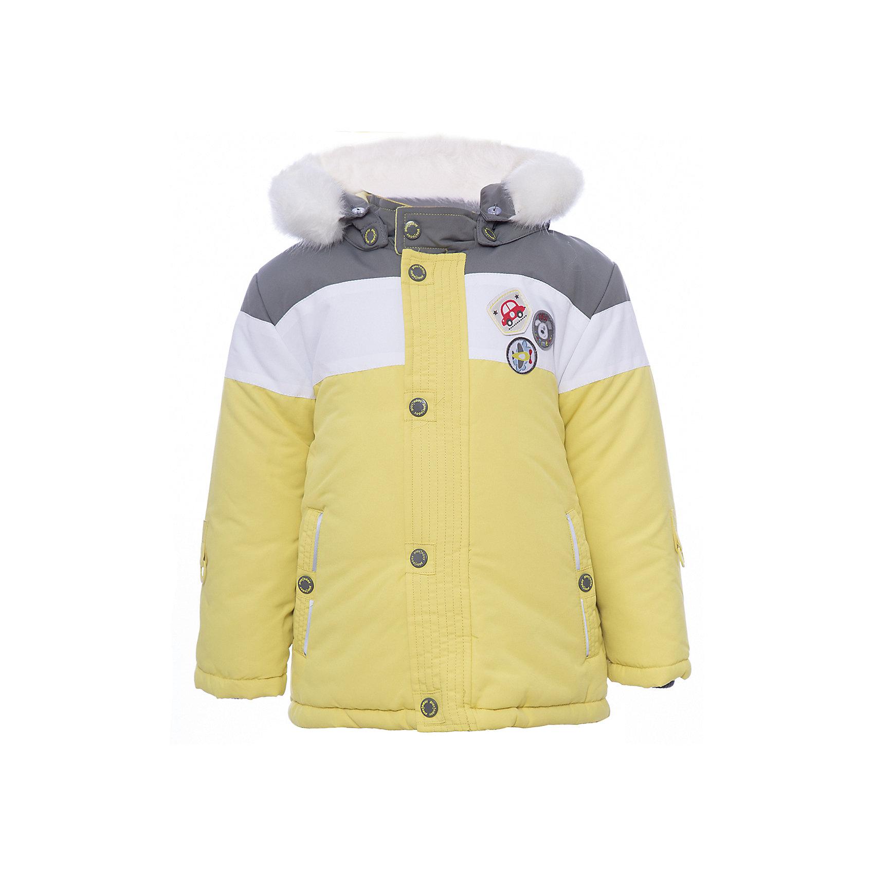 Куртка PlayToday для мальчикаВерхняя одежда<br>Куртка PlayToday для мальчика<br>Куртка из ткани с водоотталкивающей пропиткой будет актуальна в холодную погоду. Капюшон на кнопках, декорирован искусственным мехом по контуру. Модель на молнии, с заниженной спинкой, дополнена снегозащитной юбкой. Подкладка из мягкого велюра. В качестве декора использованы небольшие аппликации. Рукава дополнены специальными кольцами для перчаток. Низ куртки на регулируемом шнуре - кулиске.<br>Состав:<br>Верх: 100% полиэстер, подкладка: 80% хлопок, 20% полиэстер, Утеплитель 100% полиэстер, 300 г/м2<br><br>Ширина мм: 356<br>Глубина мм: 10<br>Высота мм: 245<br>Вес г: 519<br>Цвет: белый<br>Возраст от месяцев: 18<br>Возраст до месяцев: 24<br>Пол: Мужской<br>Возраст: Детский<br>Размер: 92,74,80,86<br>SKU: 7109859