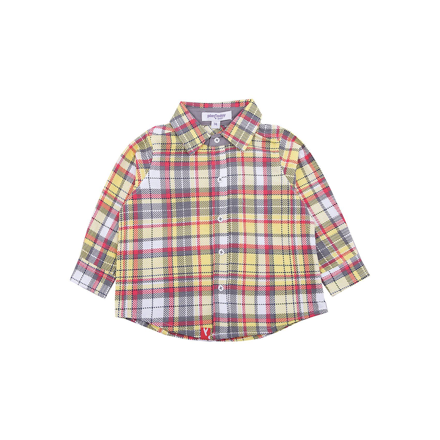 Рубашка PlayToday для мальчикаБлузки и рубашки<br>Рубашка PlayToday для мальчика<br>Рубашка для мальчика выполнена ярких, сочных цветах. Модель из трикотажа с набивкой в клетку. В качестве застежек использованы кнопки с имитацией пуговиц.<br>Состав:<br>65% хлопок, 35% полиэстер<br><br>Ширина мм: 174<br>Глубина мм: 10<br>Высота мм: 169<br>Вес г: 157<br>Цвет: белый<br>Возраст от месяцев: 18<br>Возраст до месяцев: 24<br>Пол: Мужской<br>Возраст: Детский<br>Размер: 92,74,80,86<br>SKU: 7109894
