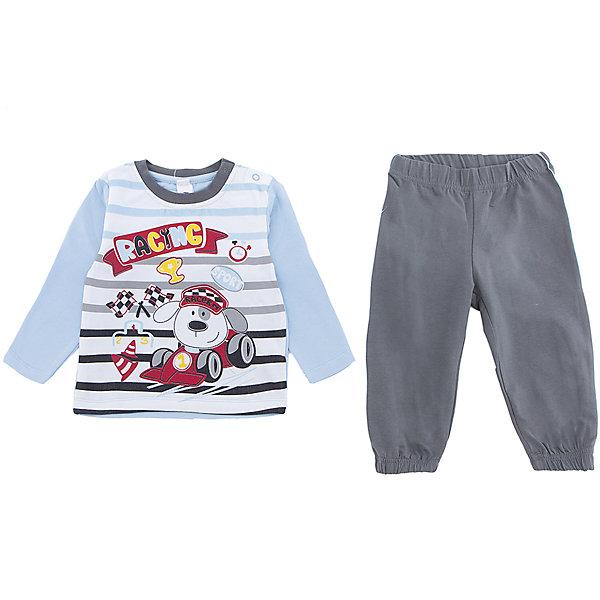 Комплект: футболка и брюки PlayToday для мальчикаКомплекты<br>Характеристики товара:<br><br>• цвет: голубой<br>• комплектация: лонгслив и брюки<br>• состав ткани: 95% хлопок, 5% эластан<br>• сезон: демисезон<br>• застежка: кнопки<br>• длинные рукава<br>• пояс: резинка<br>• страна бренда: Германия<br>• страна изготовитель: Китай<br><br>Удобный детский комплект отличается мягкими швами и продуманным кроем. Трикотажный детский комплект состоит из лонгслива и брюк. Комплект для мальчика подойдет для занятий спортом. Комплект для детей сделан из легких качественных материалов. Детская одежда и обувь от европейского бренда PlayToday - выбор многих родителей. <br><br>Комплект: лонгслив и брюки PlayToday (ПлэйТудэй) для мальчика можно купить в нашем интернет-магазине.<br>Ширина мм: 199; Глубина мм: 10; Высота мм: 161; Вес г: 151; Цвет: белый; Возраст от месяцев: 12; Возраст до месяцев: 15; Пол: Мужской; Возраст: Детский; Размер: 80,74,92,86; SKU: 7109979;