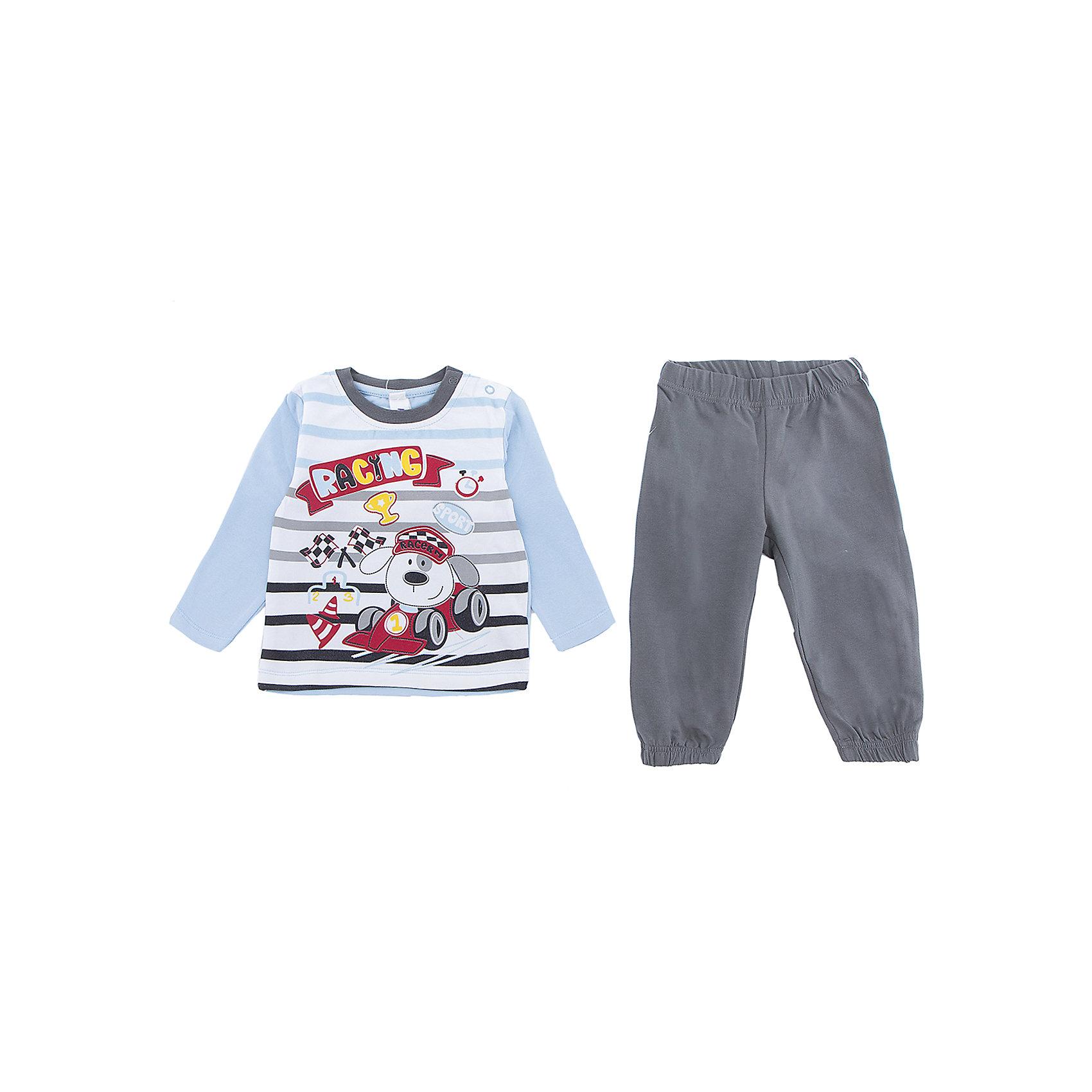 Комплект: футболка и брюки PlayToday для мальчикаКомплекты<br>Комплект: футболка и брюки PlayToday для мальчика<br>Комлект из натурального хлопка. Футболка с длинным рукавом. Для удобства снимания и одевания плечо футболки дополнено застежками - кнопками. Пояс брюк на широкой резинке, не сдавливающей живот ребенка. Низ штанин также на резинках. В качестве декора на футболку нанесен принт.<br>Состав:<br>95% хлопок, 5% эластан<br><br>Ширина мм: 199<br>Глубина мм: 10<br>Высота мм: 161<br>Вес г: 151<br>Цвет: белый<br>Возраст от месяцев: 18<br>Возраст до месяцев: 24<br>Пол: Мужской<br>Возраст: Детский<br>Размер: 92,74,80,86<br>SKU: 7109979